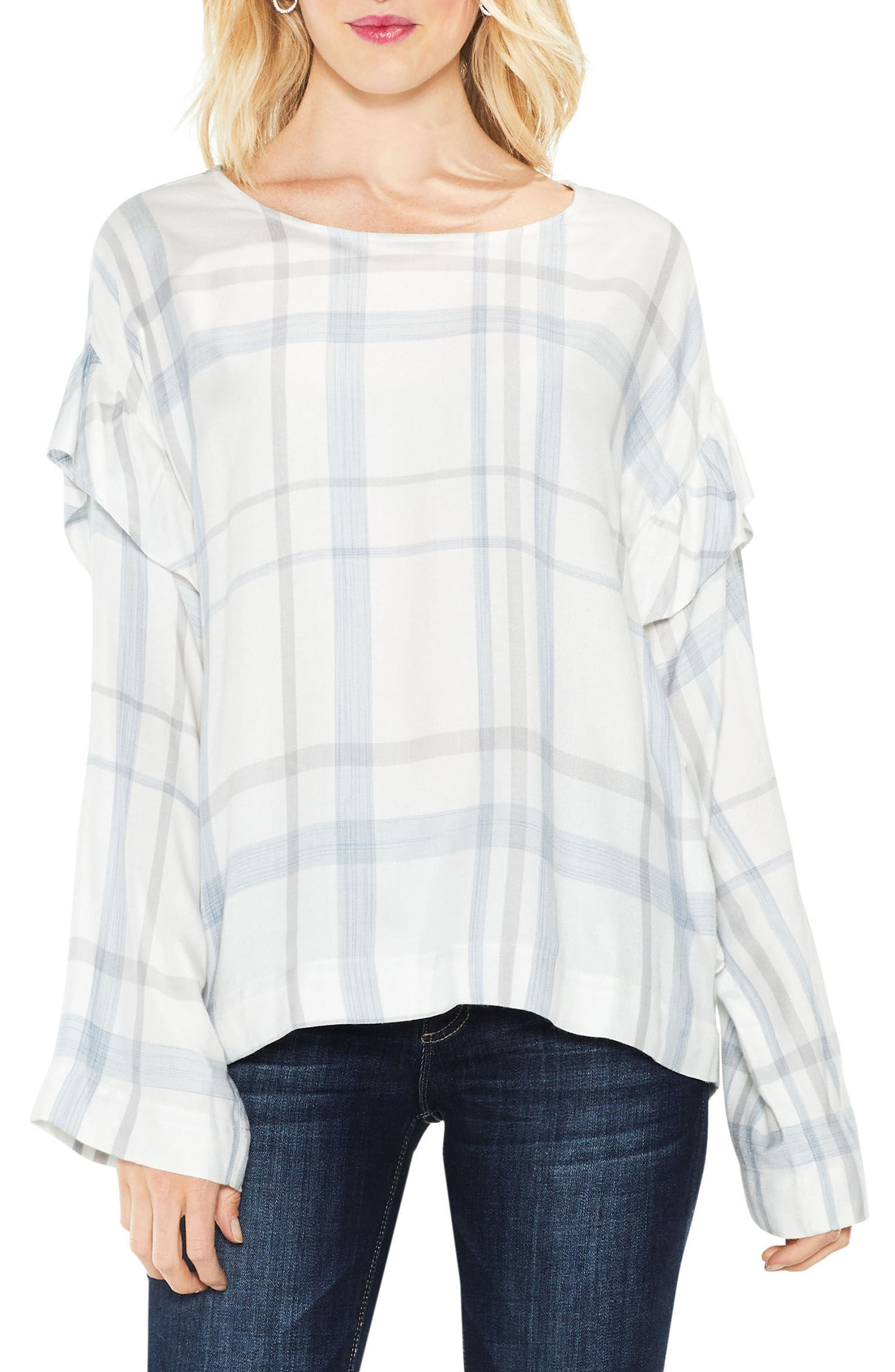 Two by Vince Camuto Bell Sleeve Ruffle Space Dye Top (Regular & Petite)