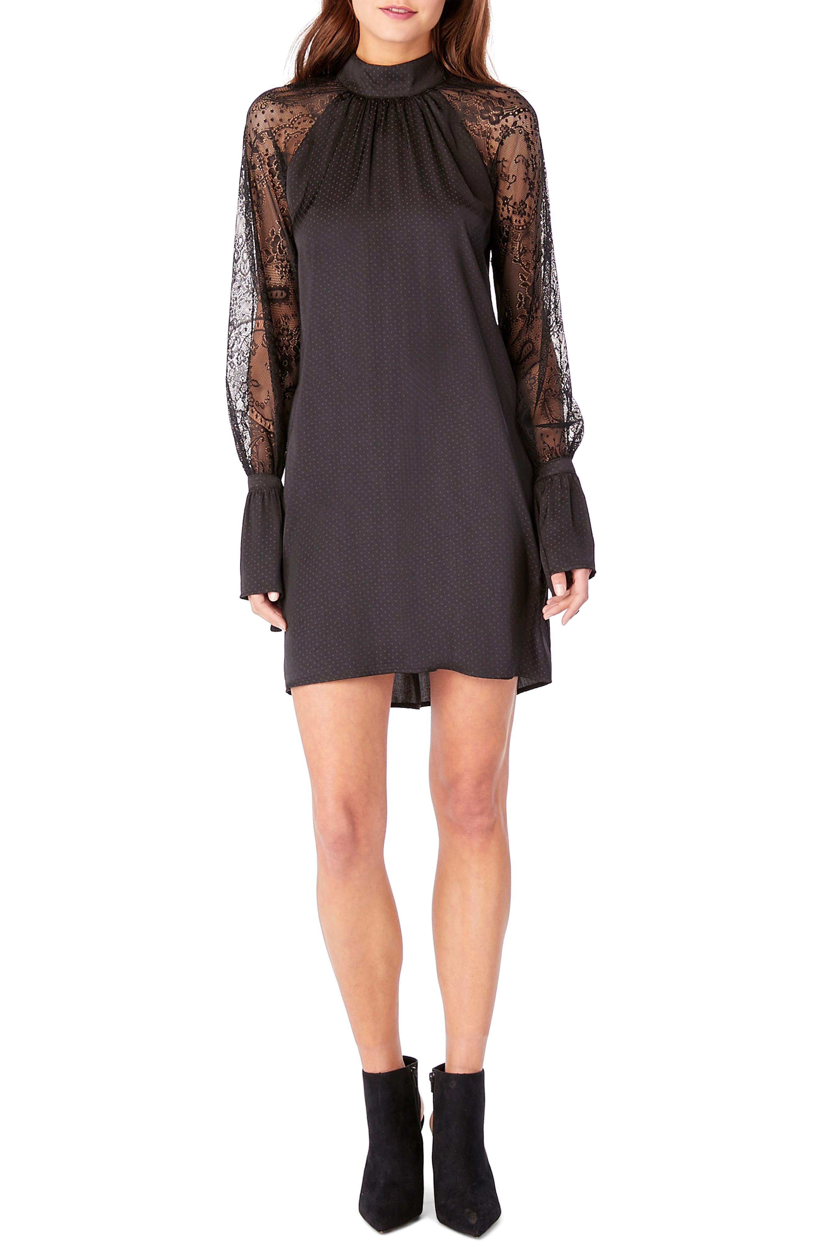 Lace Bell Sleeve Shift Dress,                             Alternate thumbnail 3, color,                             Black
