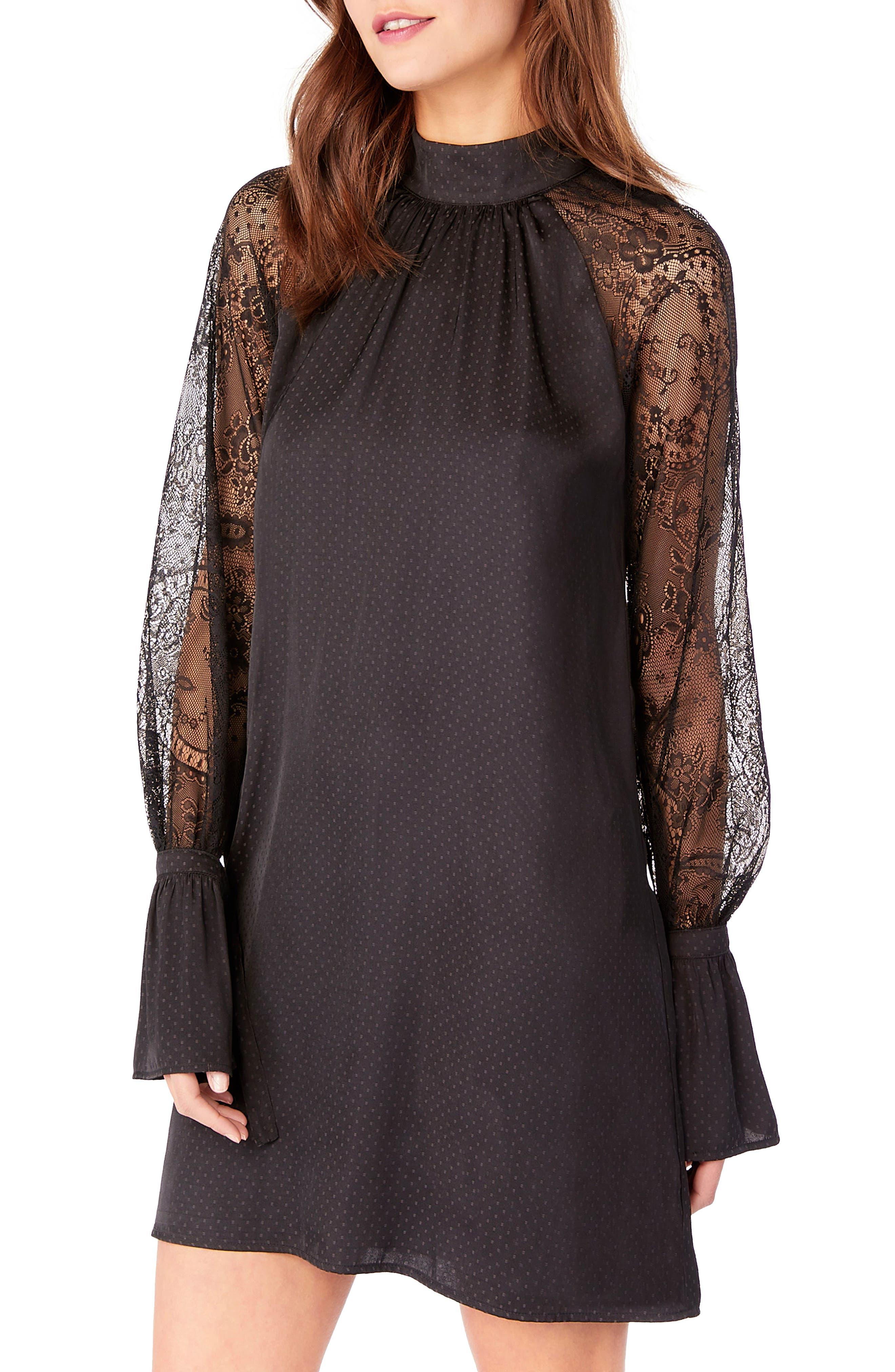 Lace Bell Sleeve Shift Dress,                             Main thumbnail 1, color,                             Black