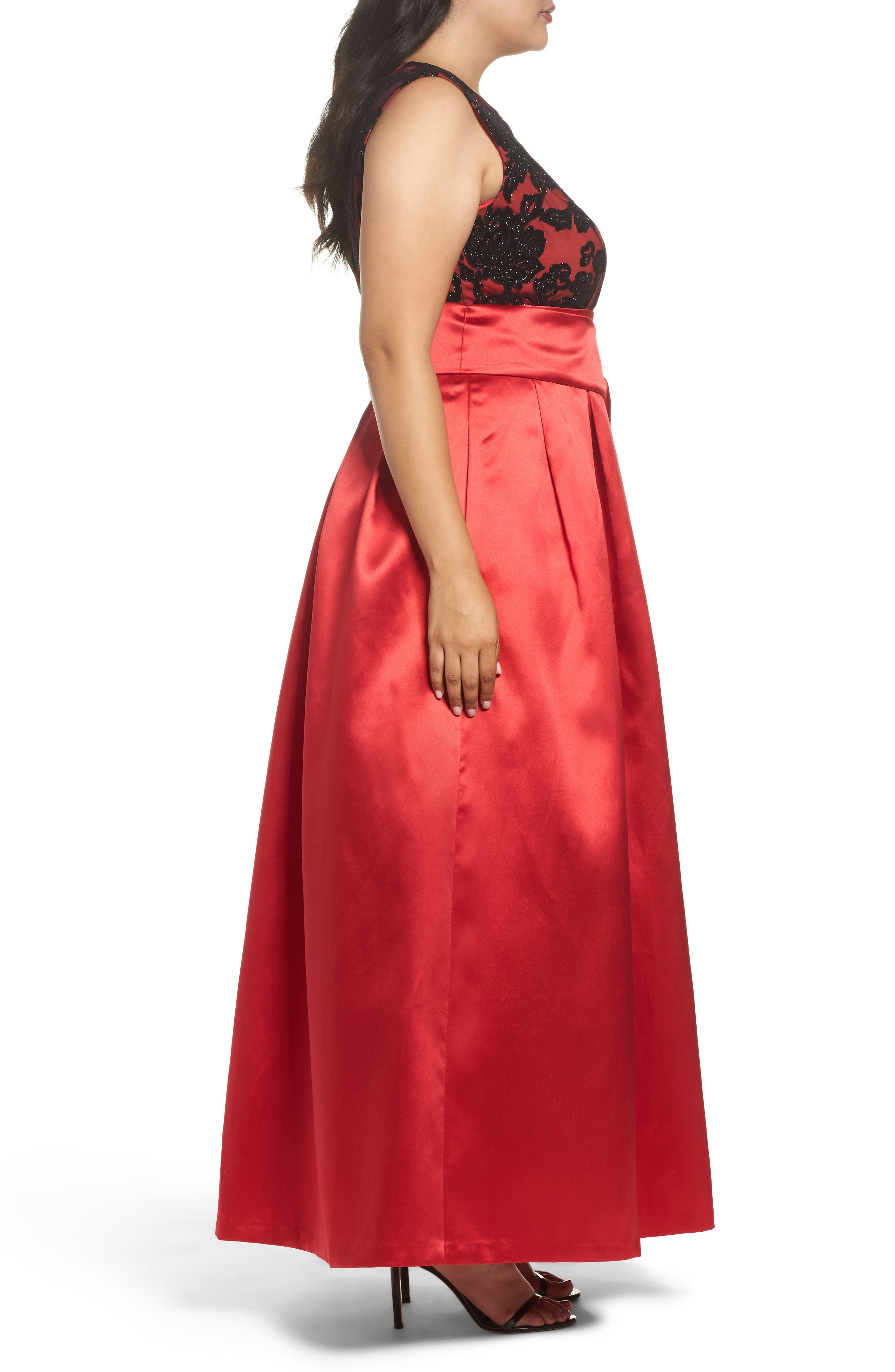 Sleeveless Lace & Satin Ballgown,                             Alternate thumbnail 3, color,                             Red
