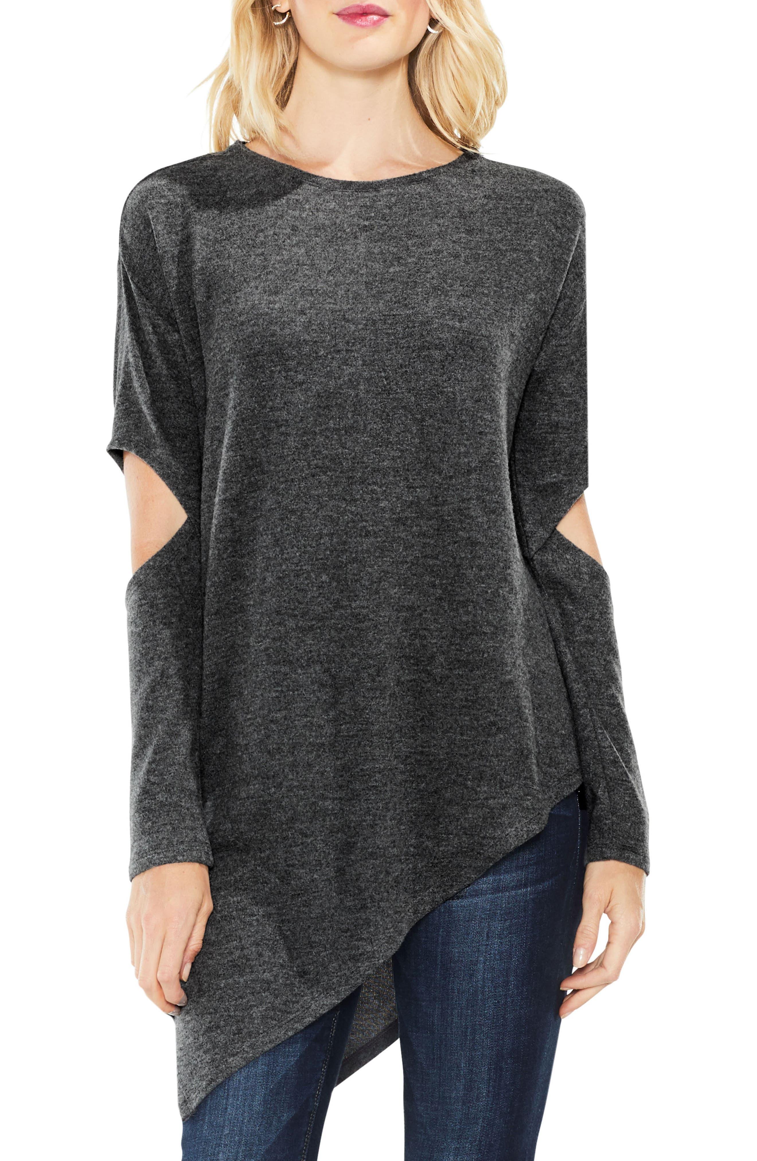 Cold Elbow Asymmetrical Top,                         Main,                         color, Med Heather Grey