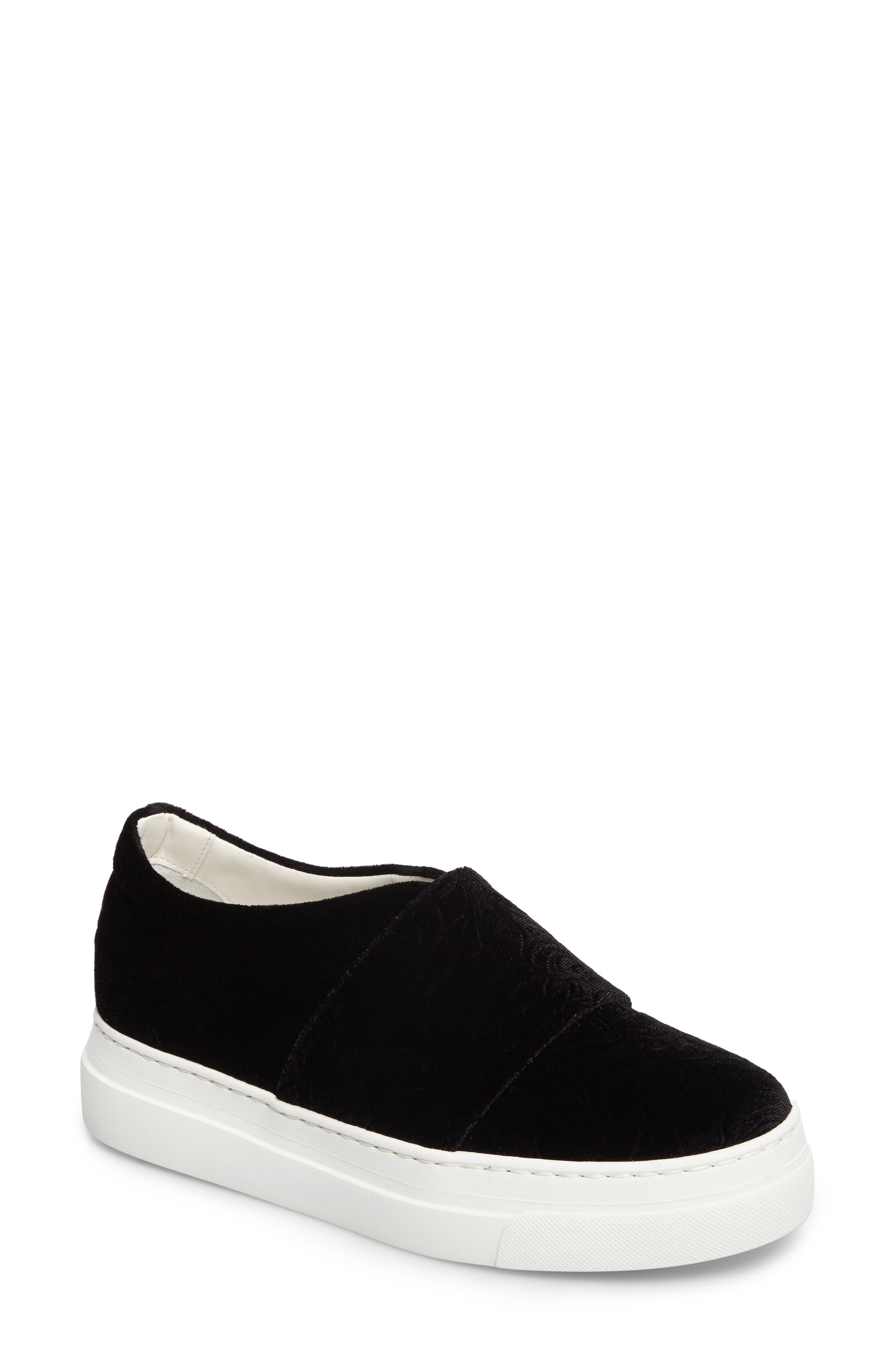 Arlo Slip-On Platform Sneaker,                             Main thumbnail 1, color,                             Black Embossed Velvet
