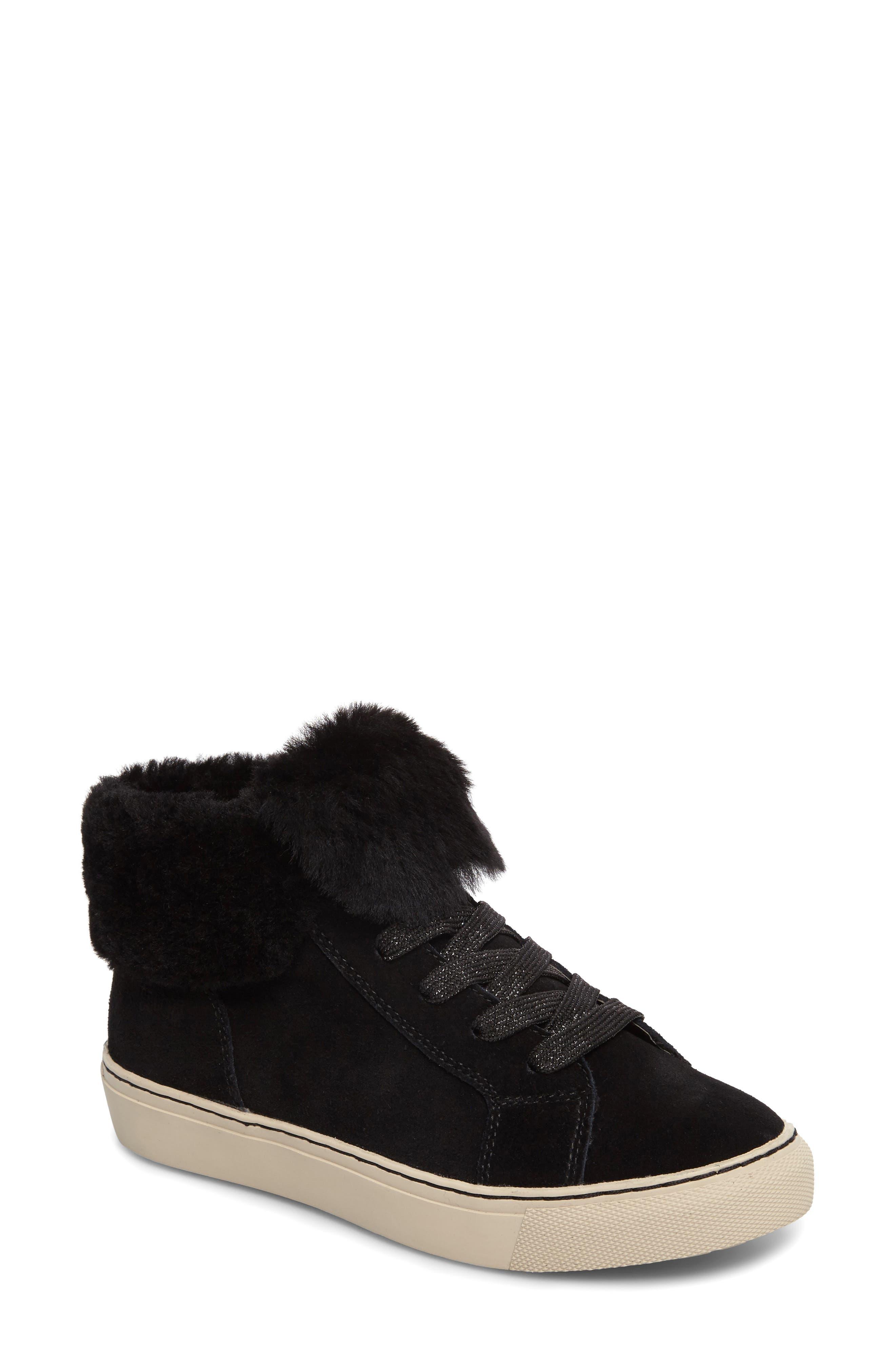 Downey Waterproof Genuine Shearling Sneaker,                             Main thumbnail 1, color,                             Black Suede