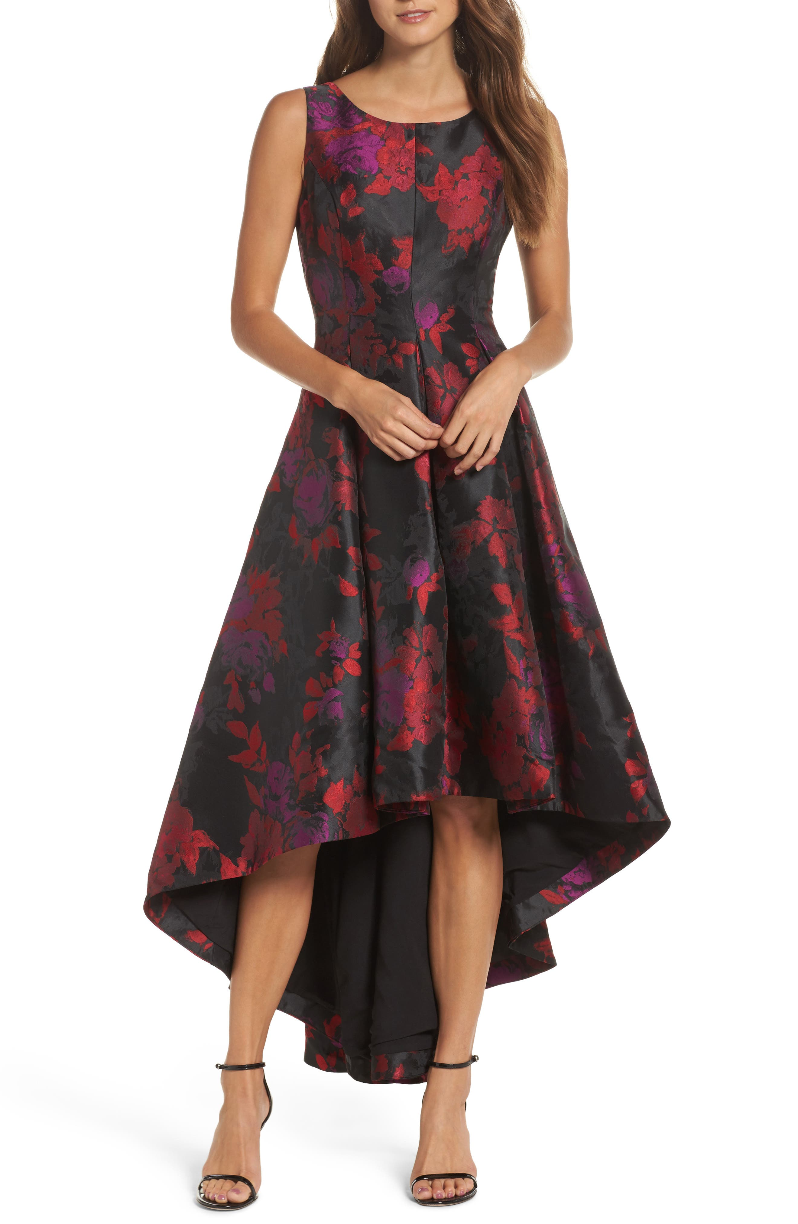 Main Image - Eliza J Floral Jacquard High/Low Gown