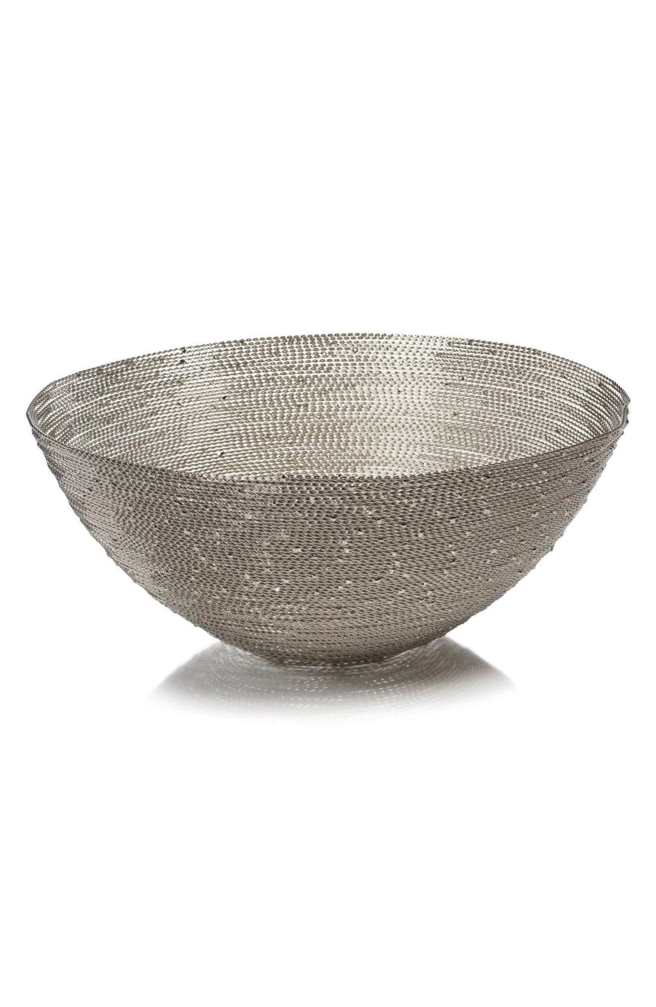 Zulu Round Woven Wire Basket,                             Main thumbnail 1, color,                             Silver