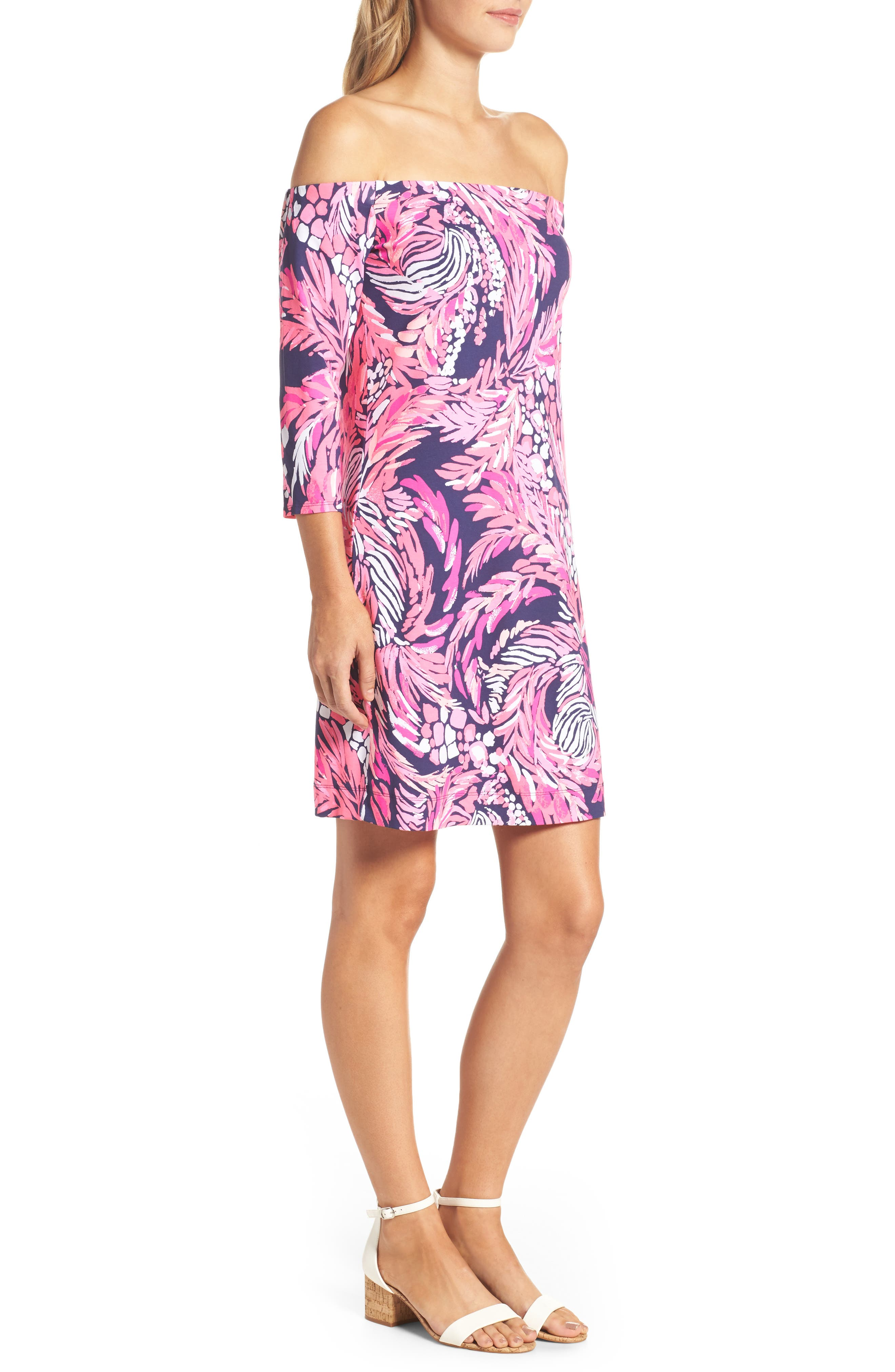 Laurana Off the Shoulder Sheath Dress,                             Alternate thumbnail 3, color,                             Bright Navy A Jungle In Here