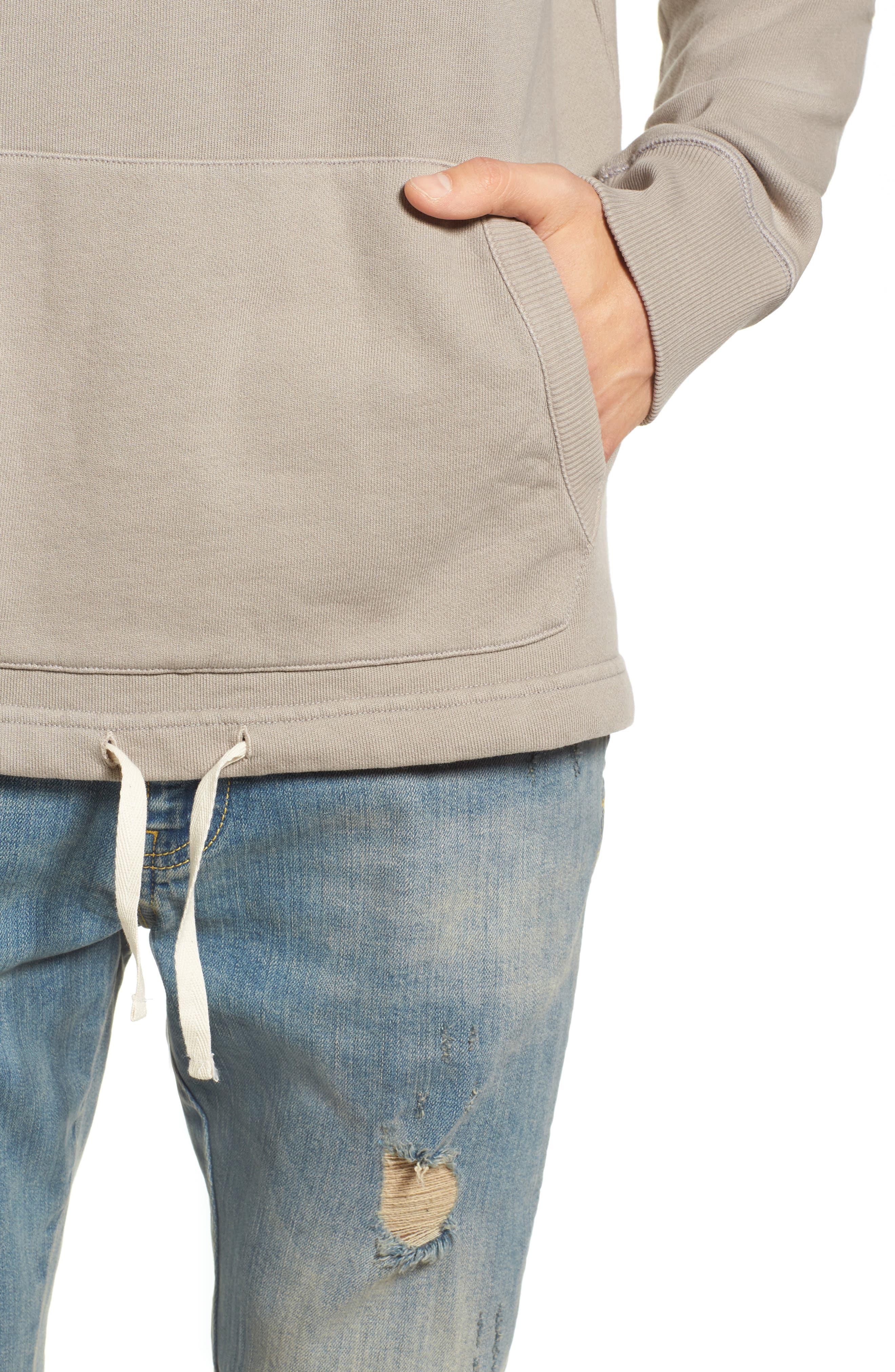 Drawcord Hem Sweatshirt,                             Alternate thumbnail 4, color,                             Tan Aluminum