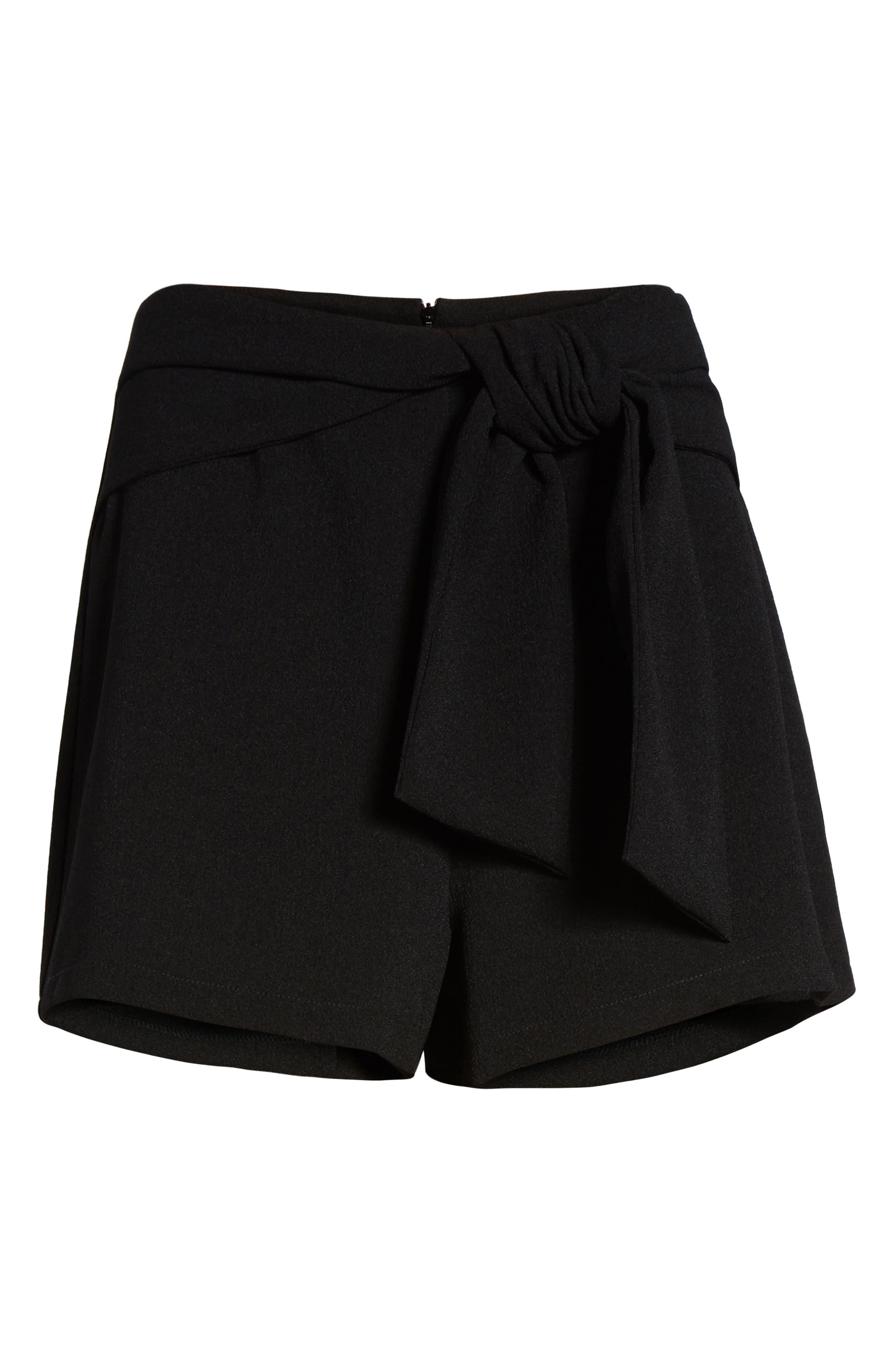 Tie Waist Shorts,                             Alternate thumbnail 6, color,                             Black