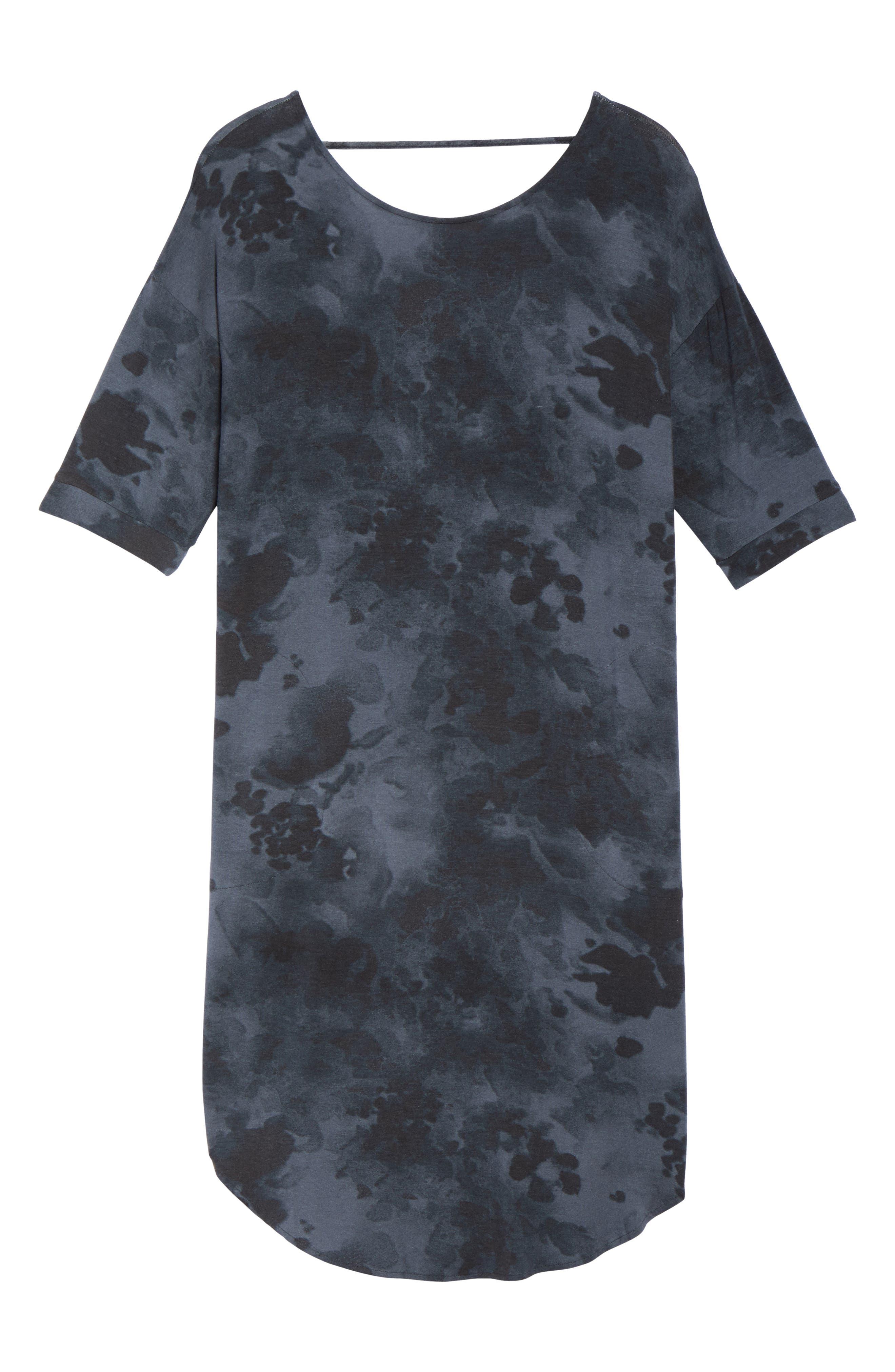 Jersey Sleep Shirt,                             Alternate thumbnail 6, color,                             Grey Floral