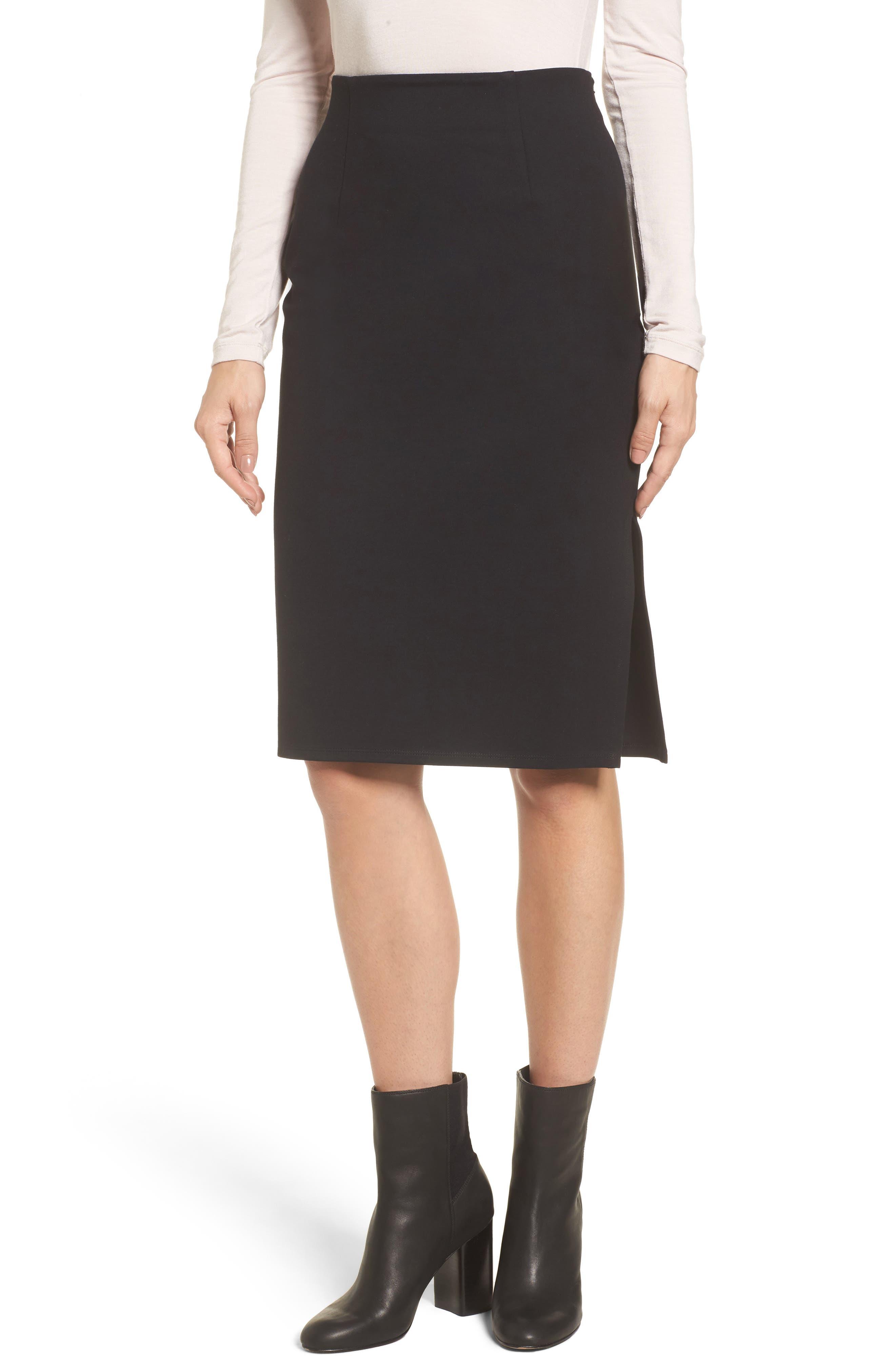 High Waist Knit Skirt,                             Main thumbnail 1, color,                             Black