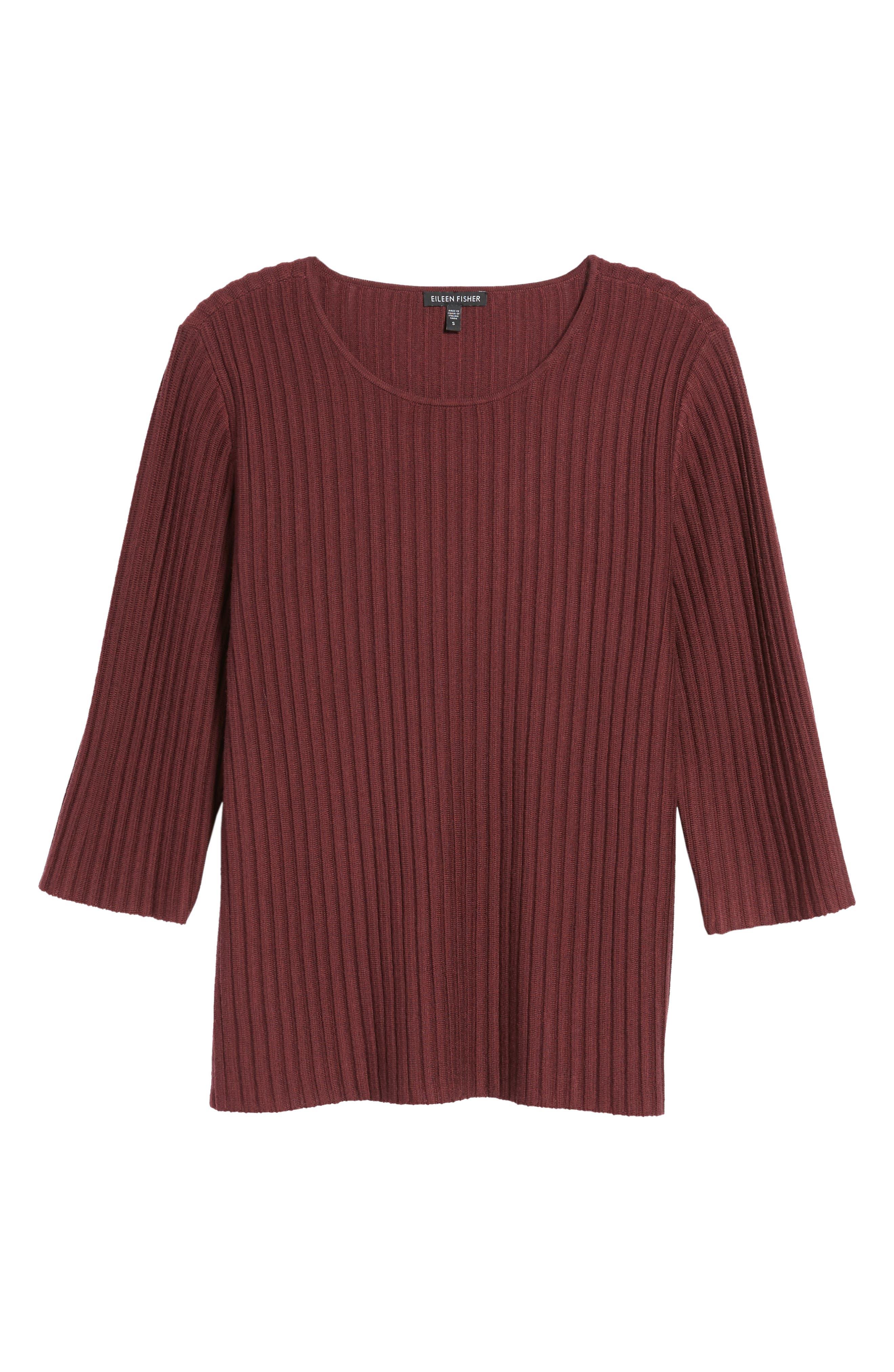 Alternate Image 6  - Eileen Fisher Ribbed Merino Wool Sweater (Regular & Petite)