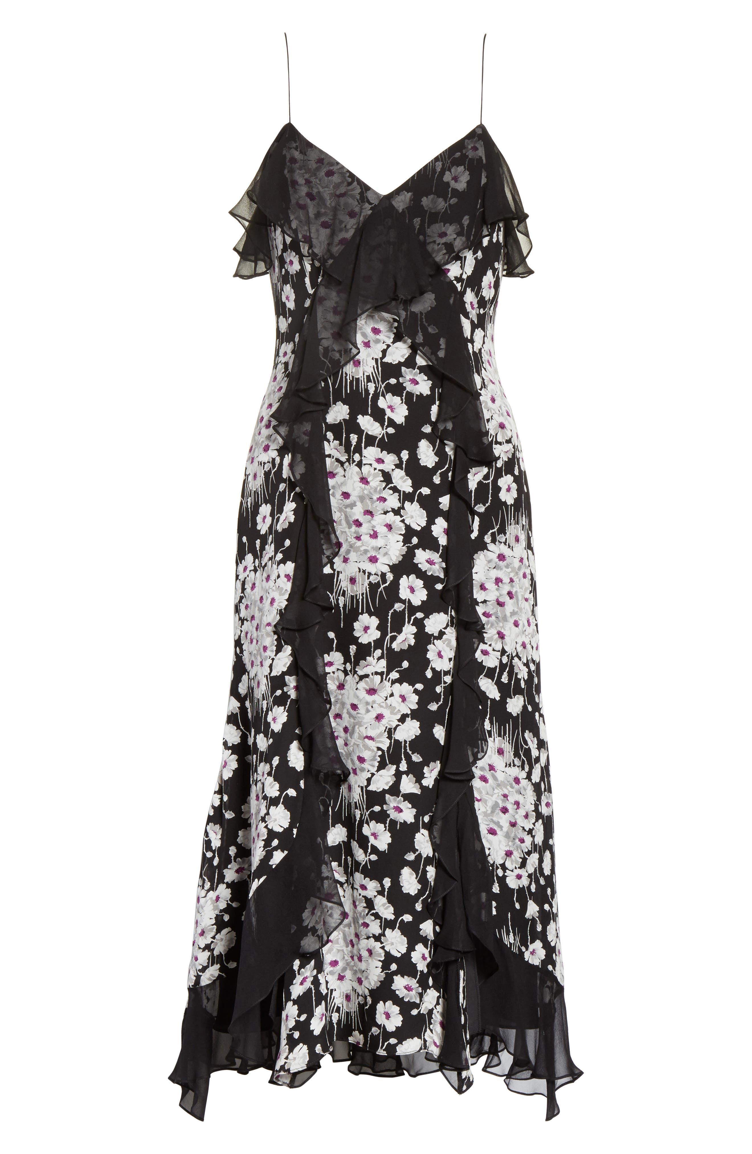 Joelle Ruffle Silk Dress,                             Alternate thumbnail 6, color,                             Black Multi