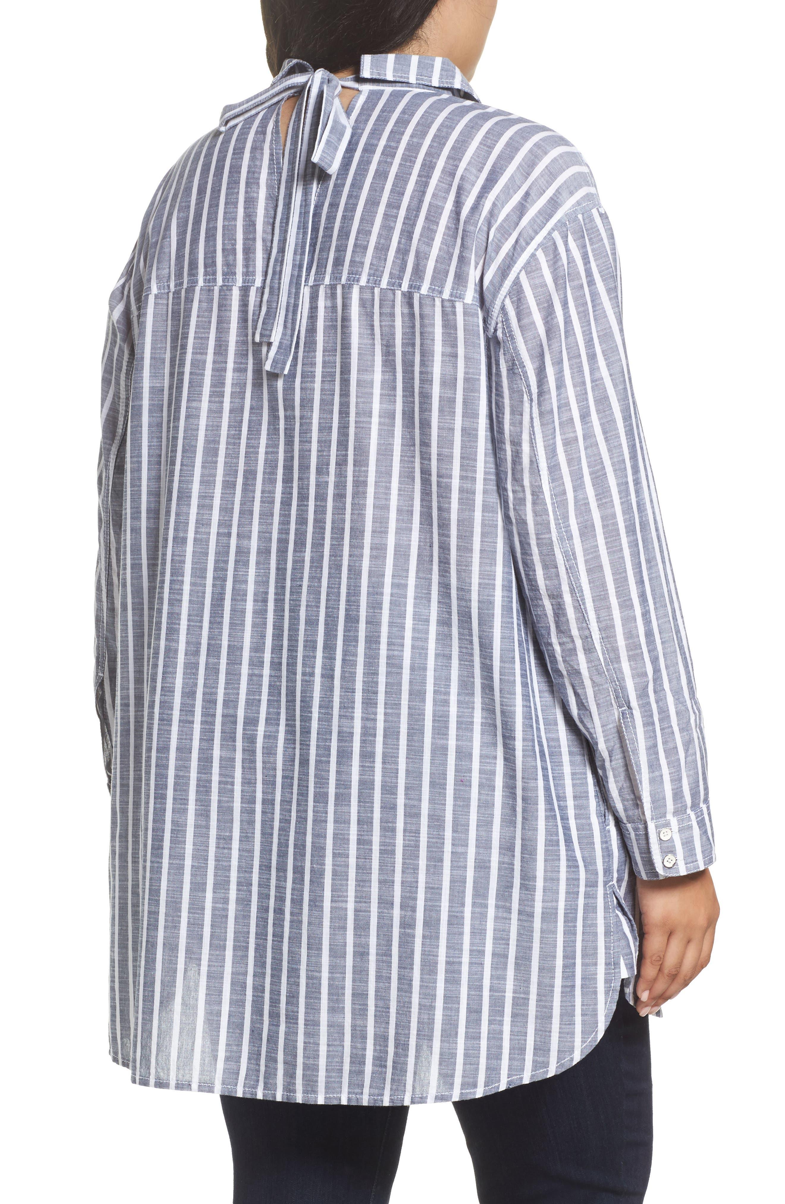 Tie Neck Cotton Tunic,                             Alternate thumbnail 3, color,                             Navy- White Stripe
