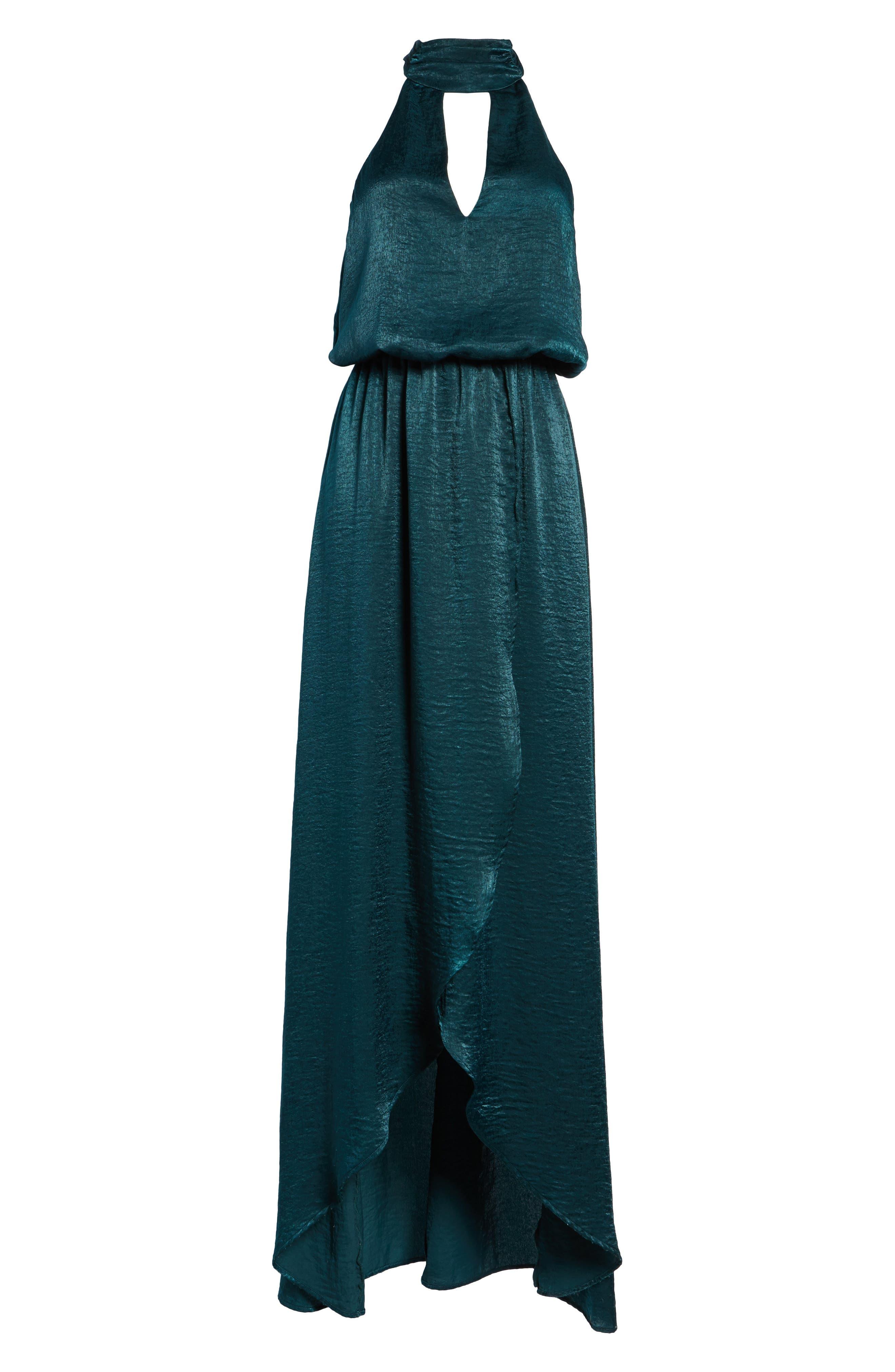 Karolina Halter Maxi Dress,                             Alternate thumbnail 6, color,                             Dark Forest