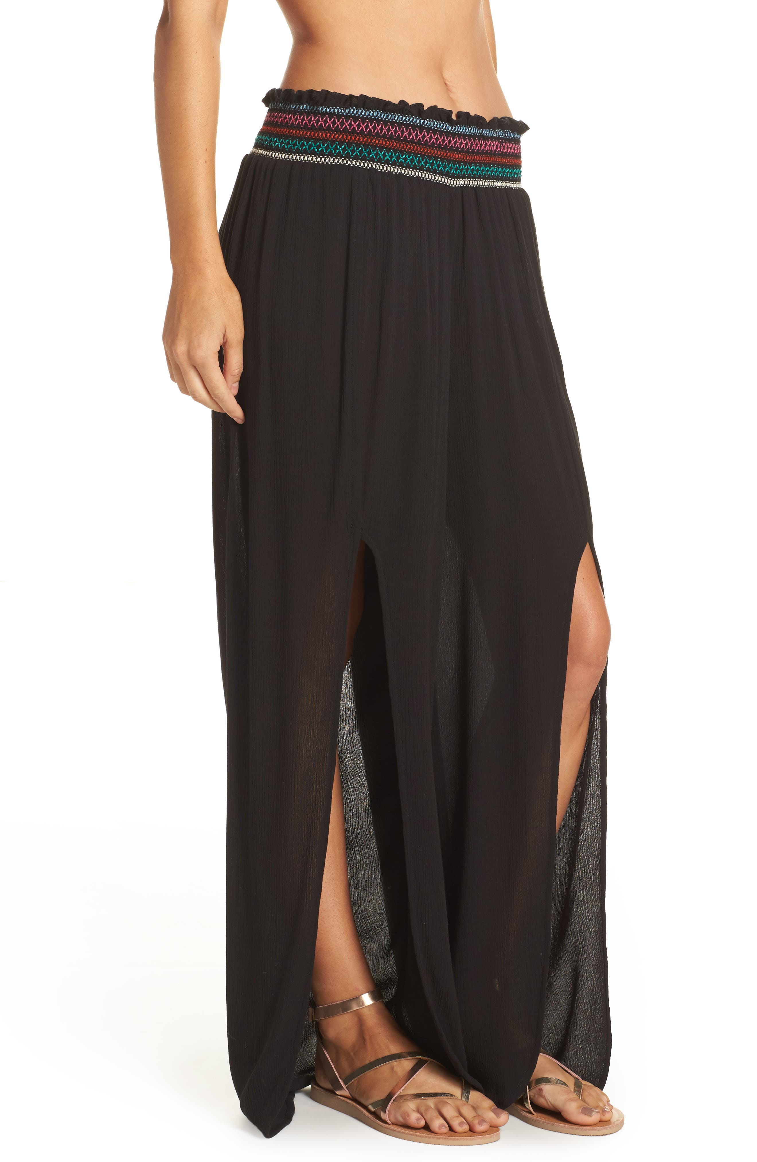 Crystal Cove Cover-Up Pants,                             Alternate thumbnail 3, color,                             Black