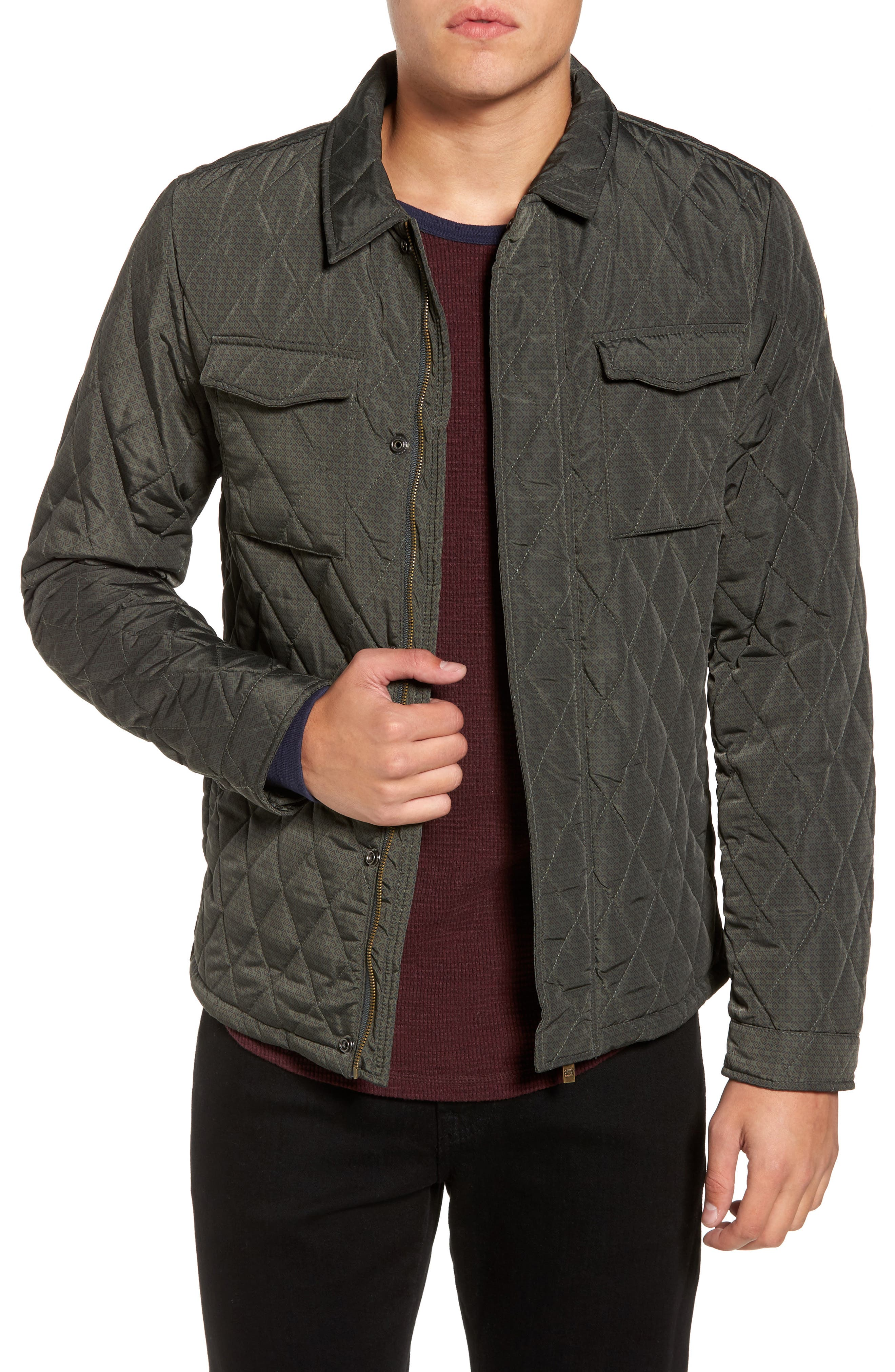Lightweight Quilted Shirt Jacket,                         Main,                         color, Grey