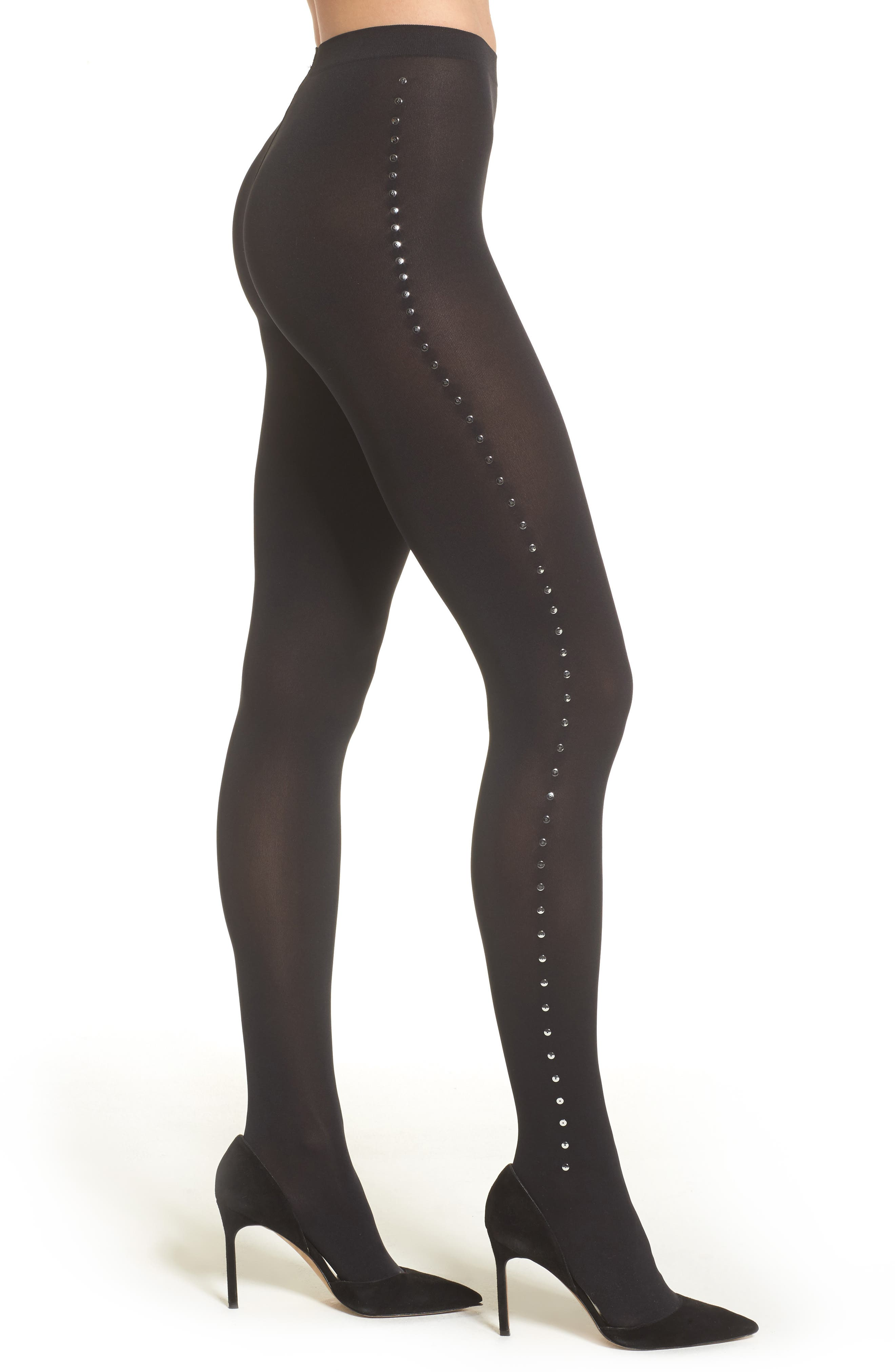 Embellished Tights,                         Main,                         color, Black/ Silver