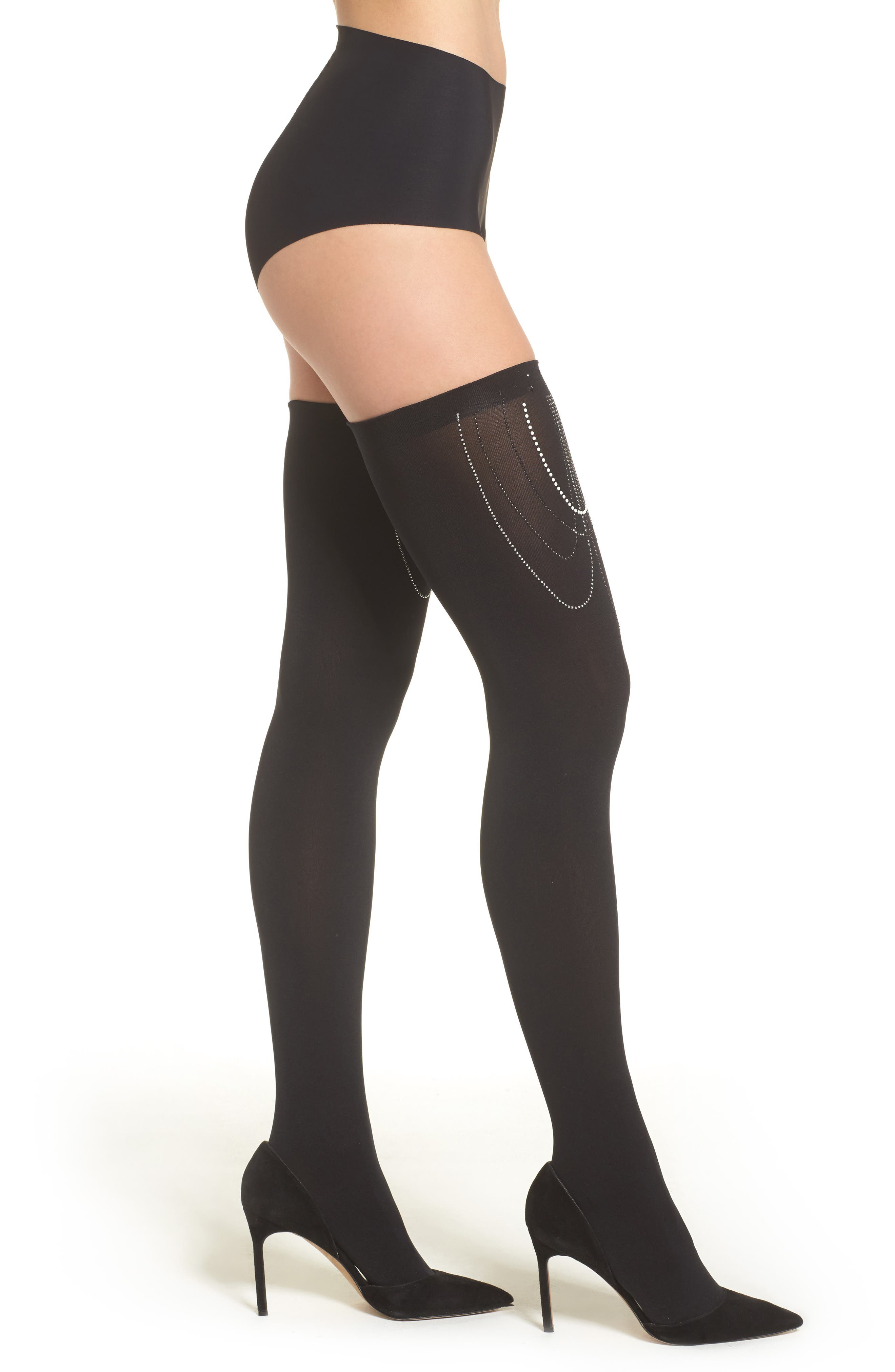 Embellished Stay-Put Stockings,                         Main,                         color, Black