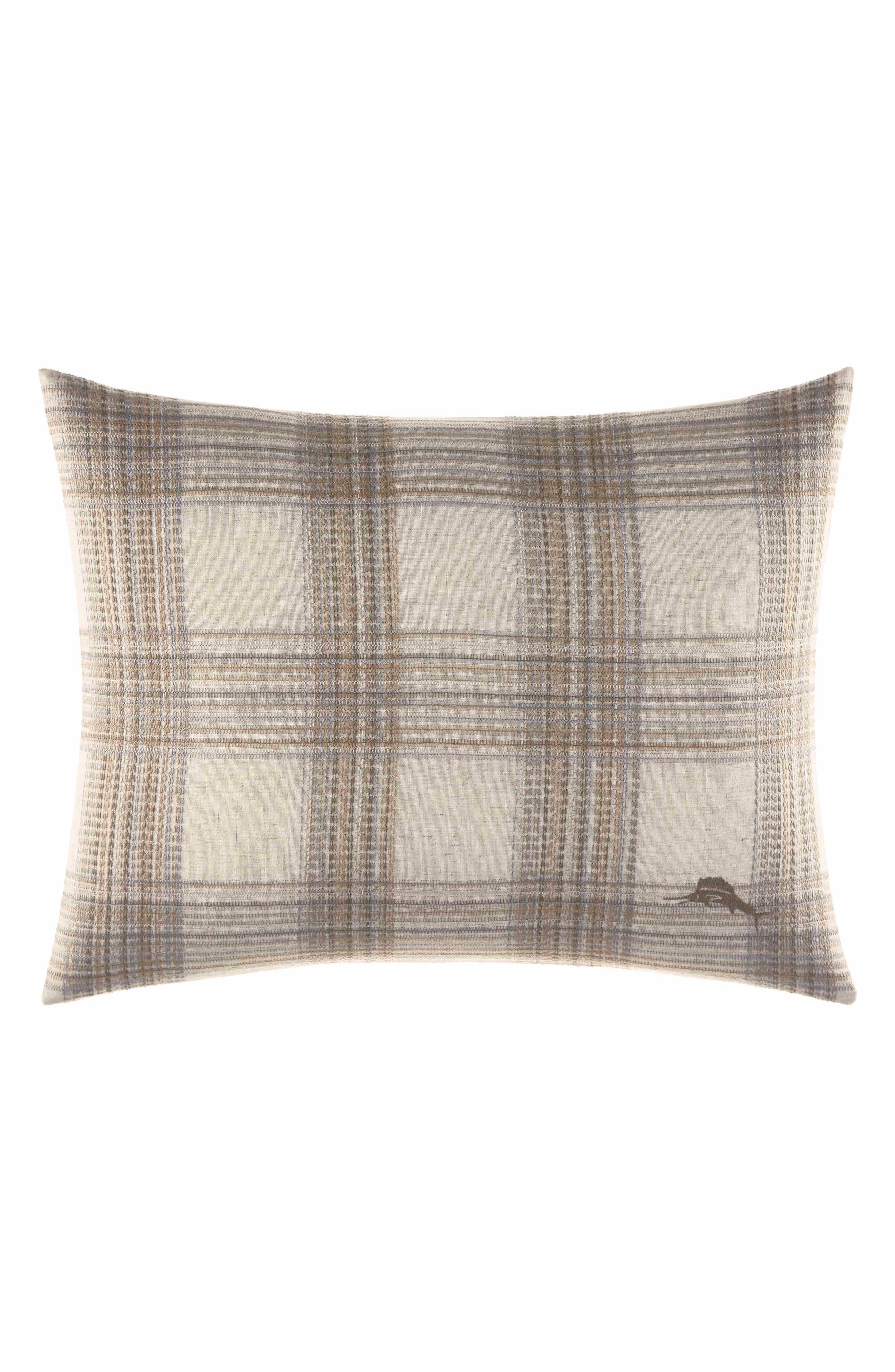 Raffia Palms Woven Pillow,                         Main,                         color, Pewter