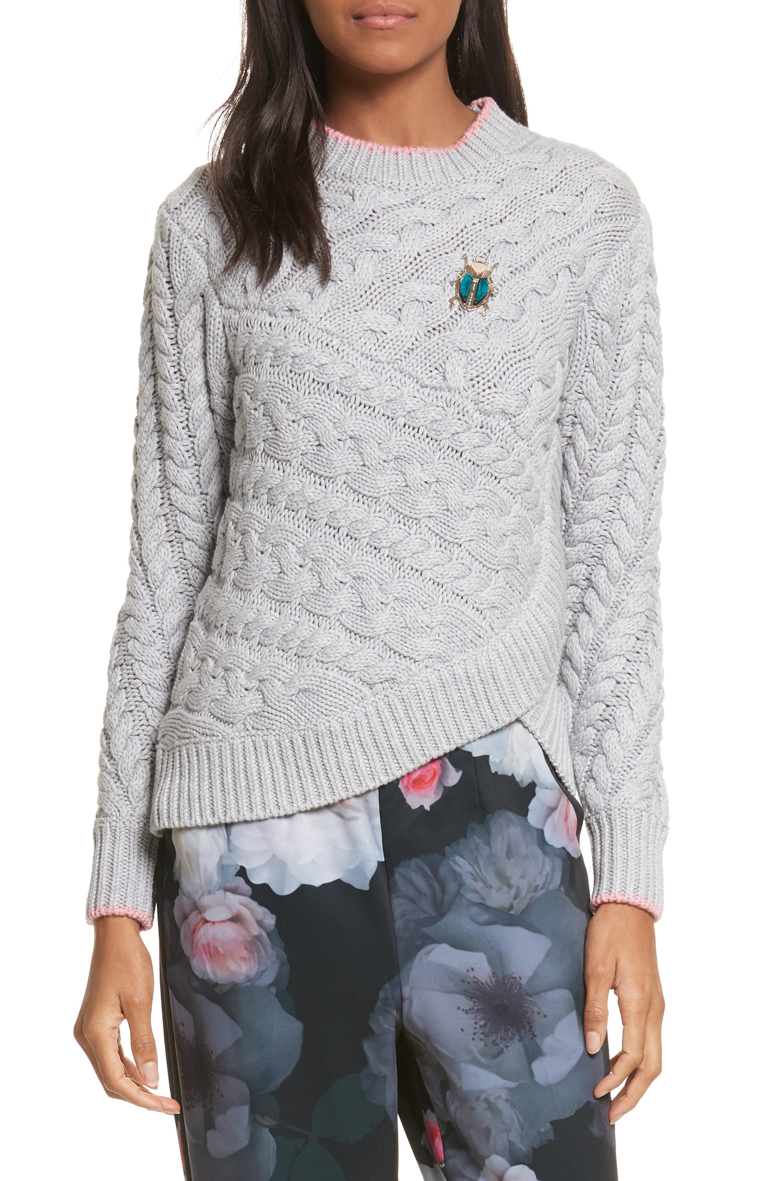 Charo Cable Knit Sweater,                             Main thumbnail 1, color,                             Grey