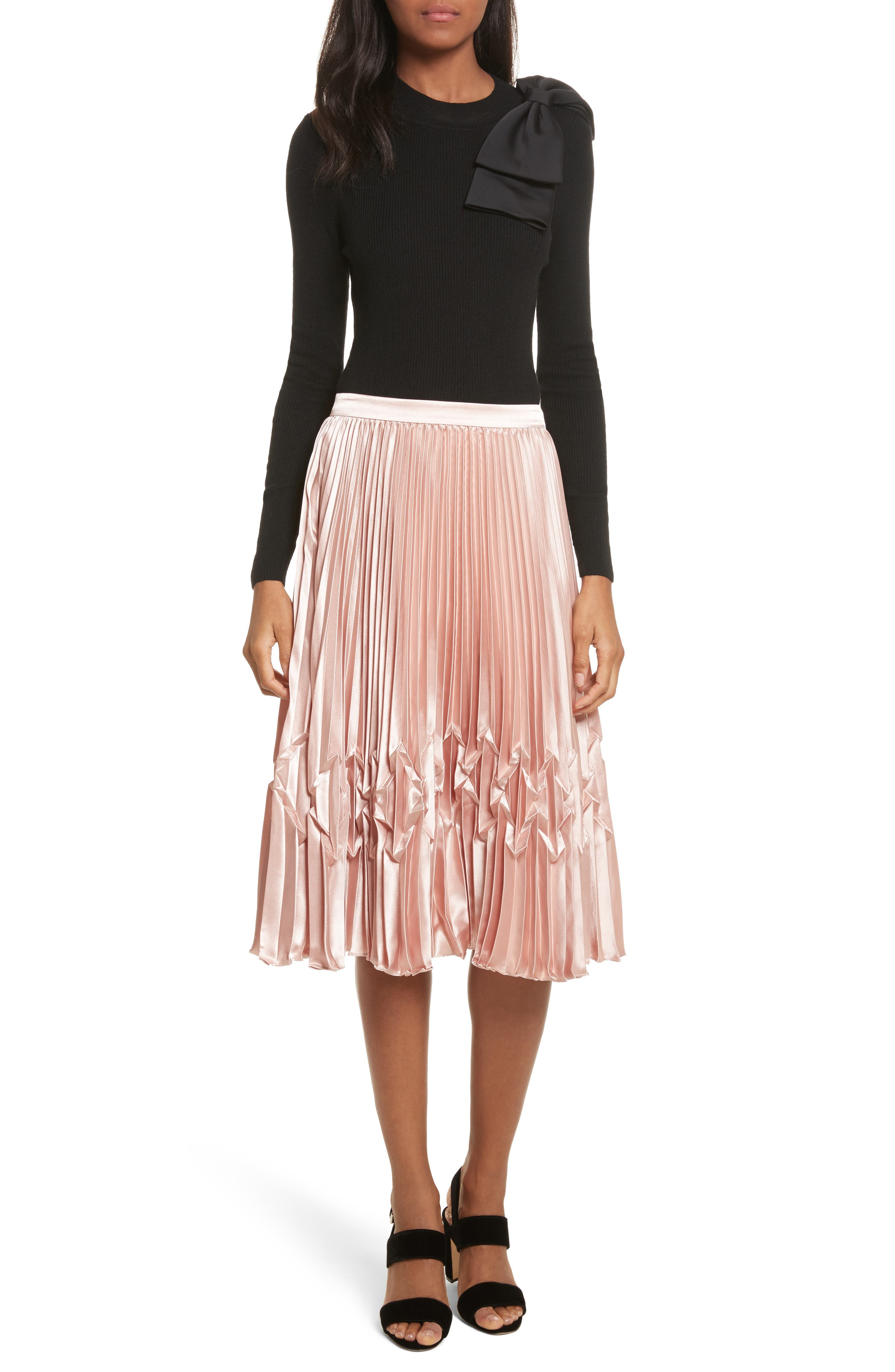 Zigzag Detail Pleated Midi Skirt,                             Alternate thumbnail 7, color,                             Rose Gold