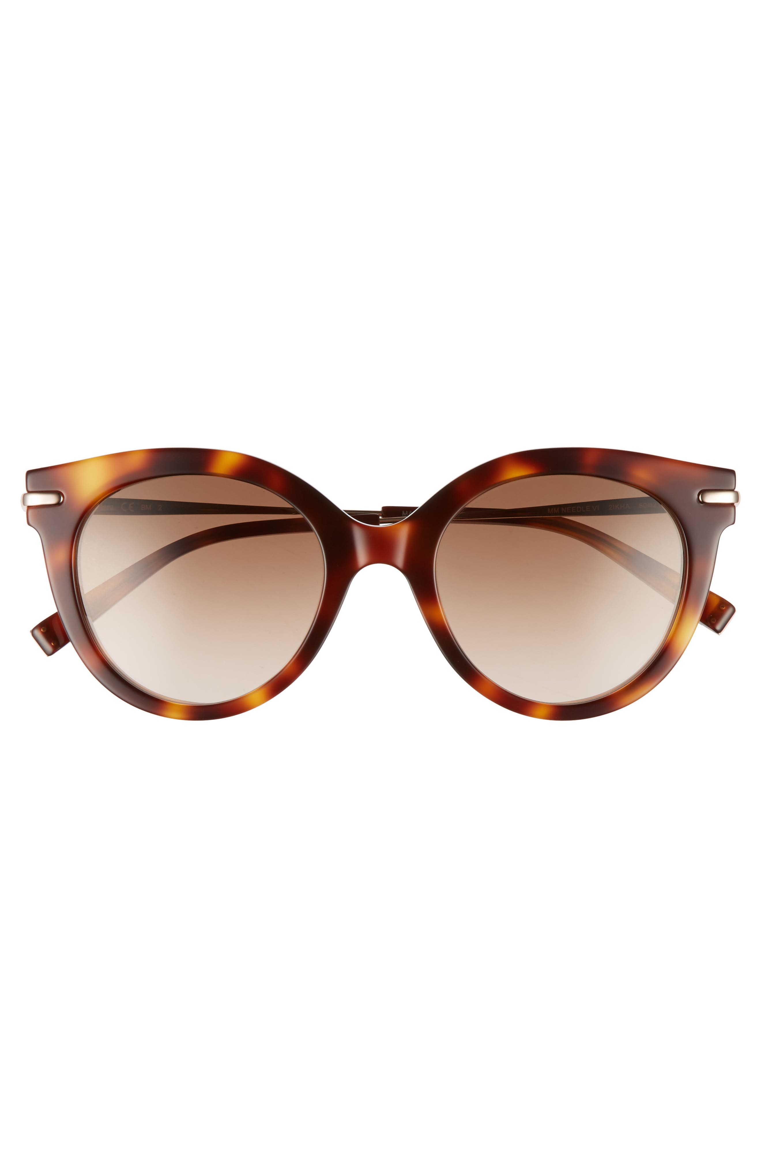 Needle VI 50mm Gradient Round Sunglasses,                             Alternate thumbnail 3, color,                             Havana Gold