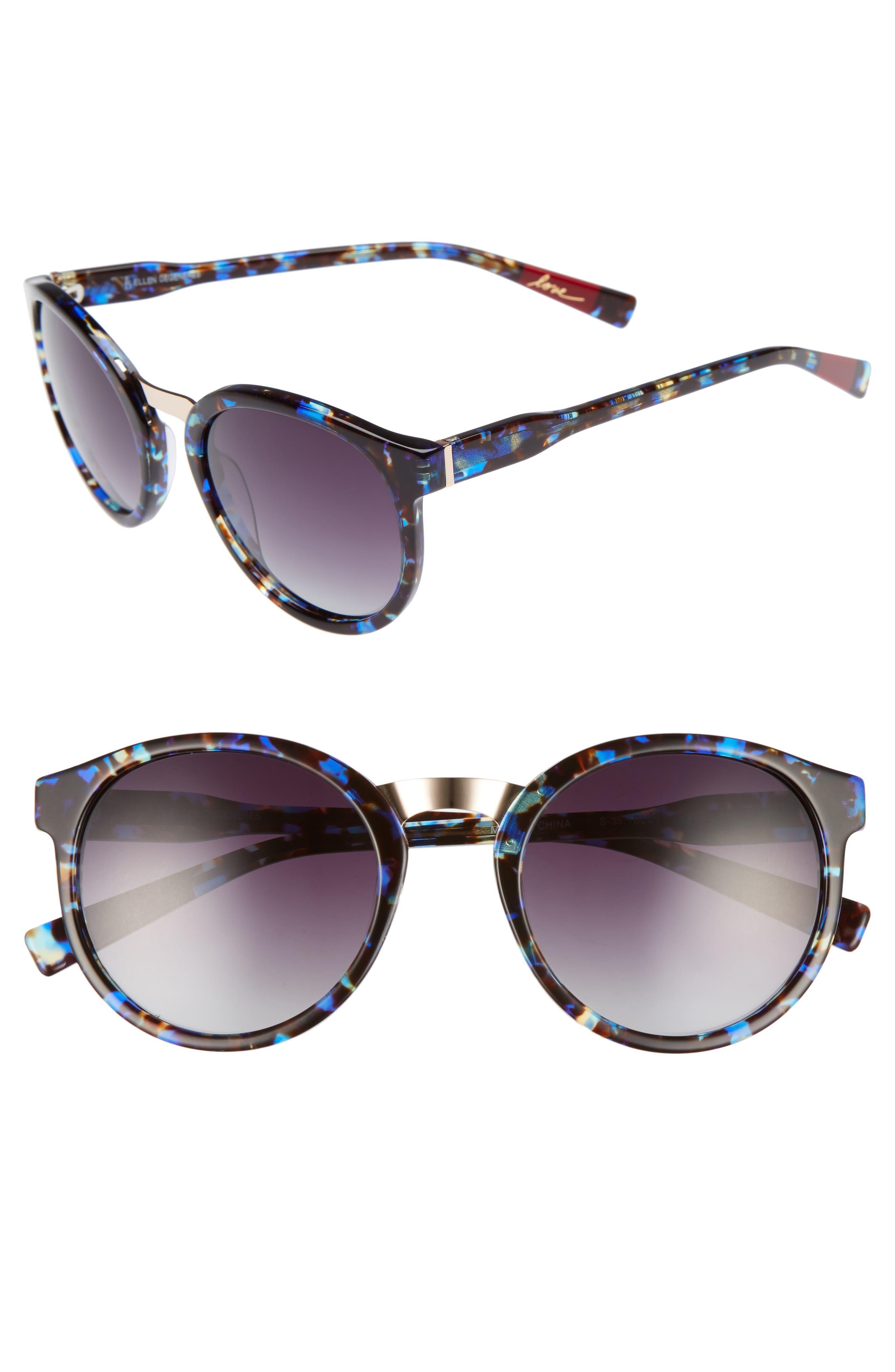 53mm Round Sunglasses,                             Main thumbnail 1, color,                             Blue Tortoise