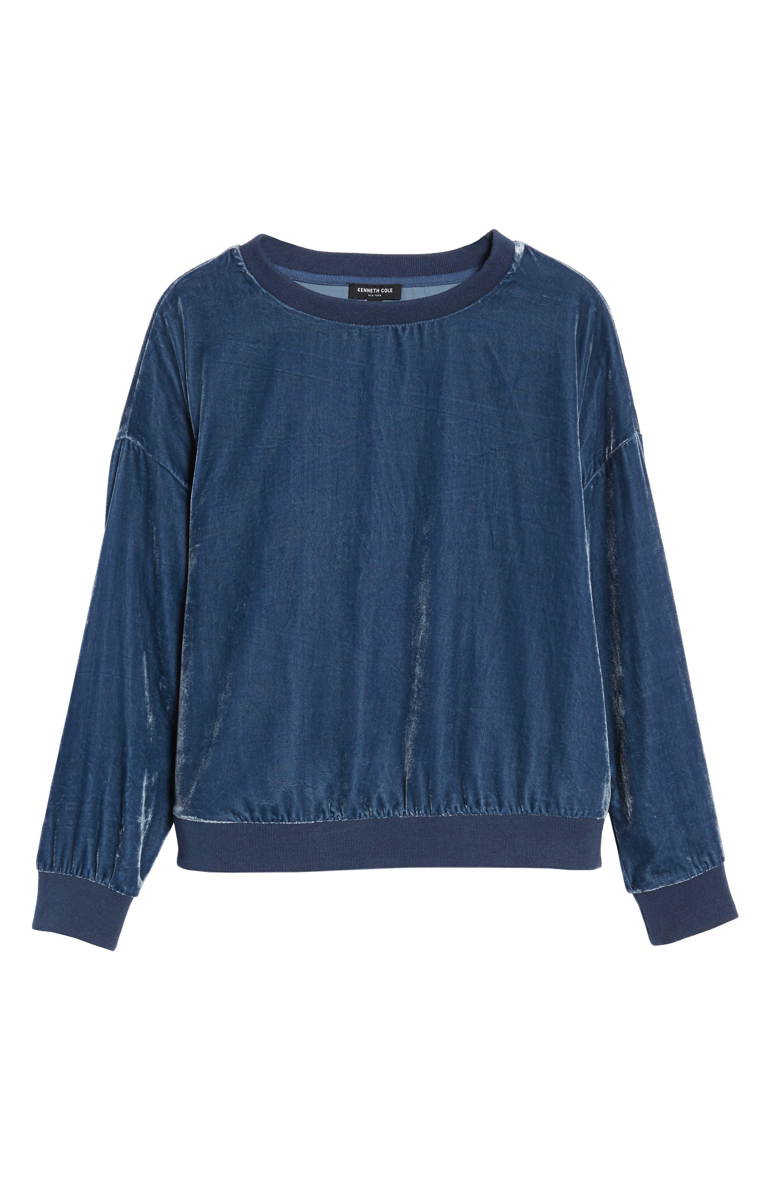 Zipper Velvet Sweatshirt,                             Alternate thumbnail 6, color,                             Splatter Blue