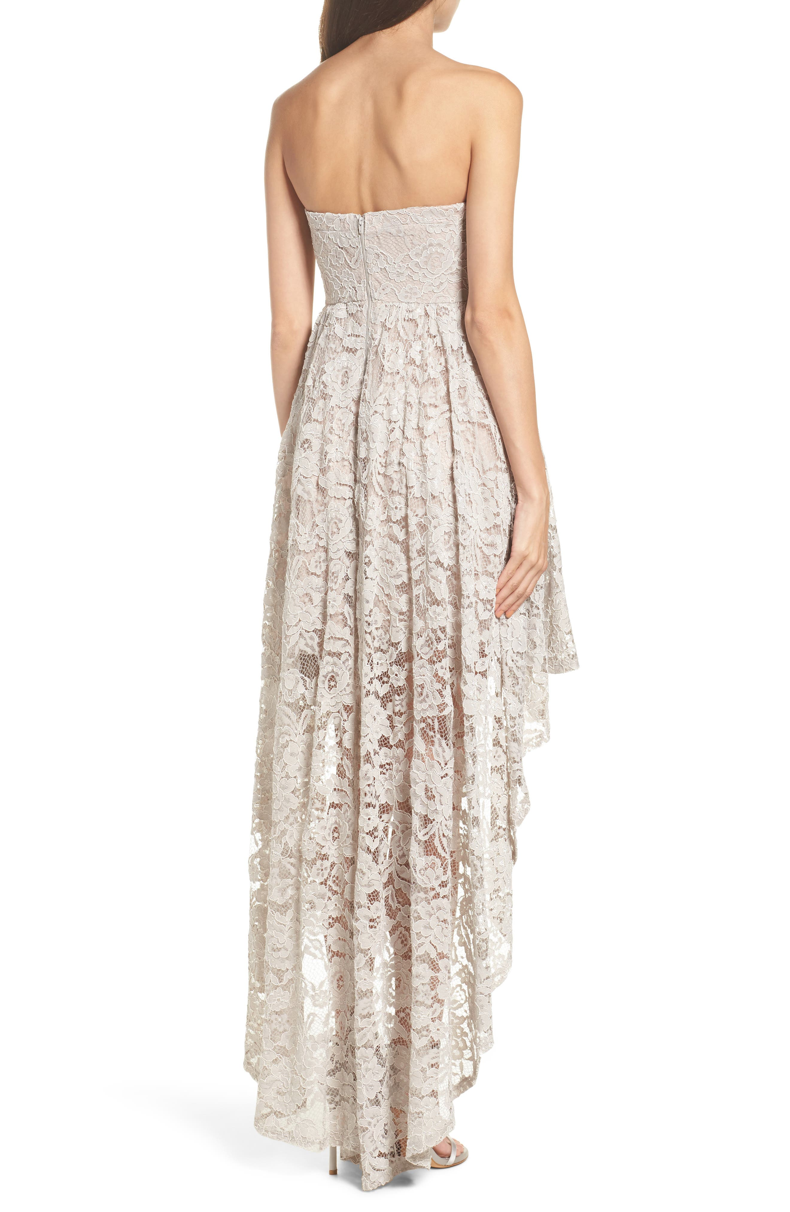 Alternate Image 2  - Sequin Hearts Strapless Lace High/Low Dress