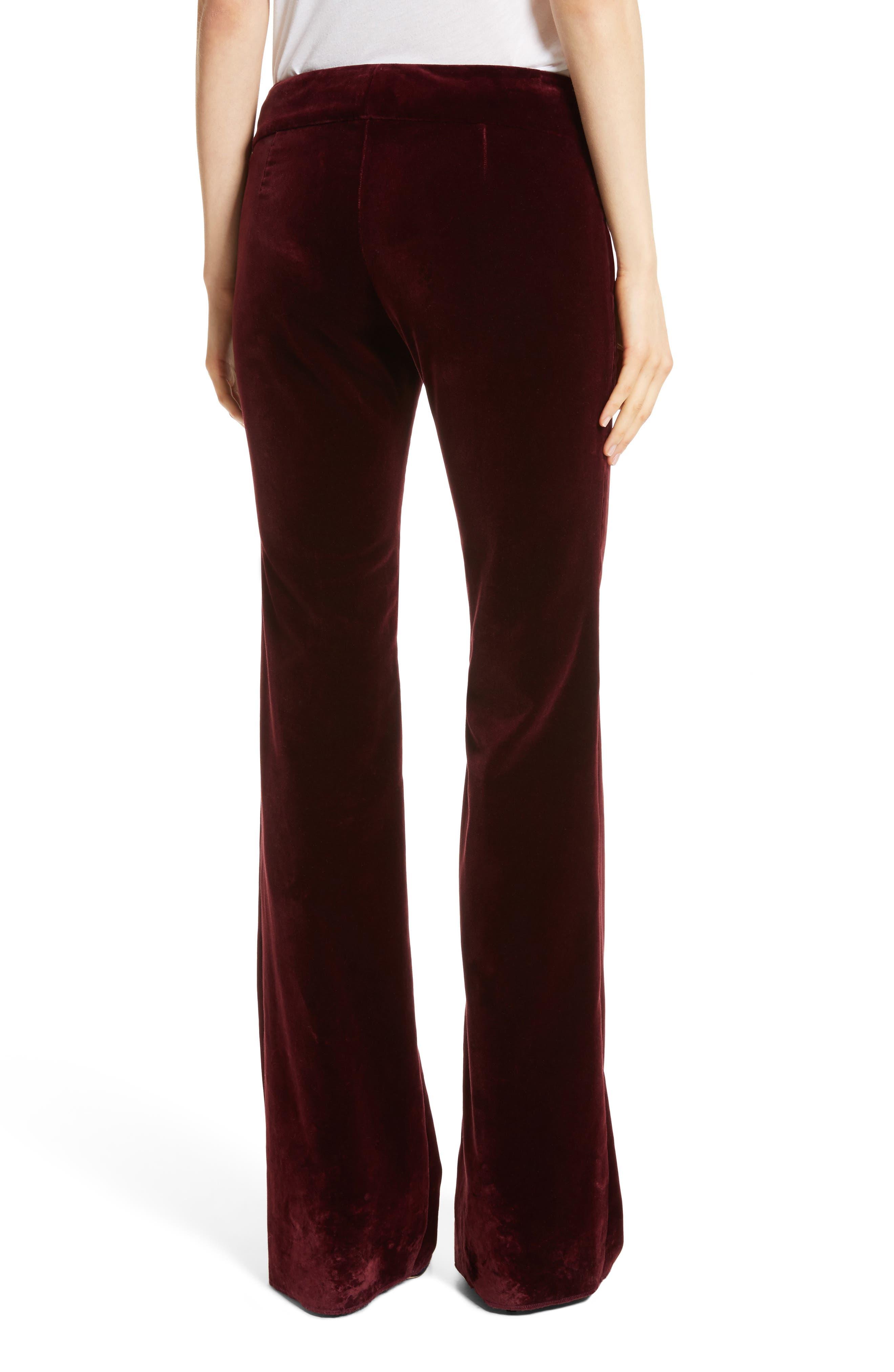 Amoire Velvet Flare Pants,                             Alternate thumbnail 4, color,                             Burgundy
