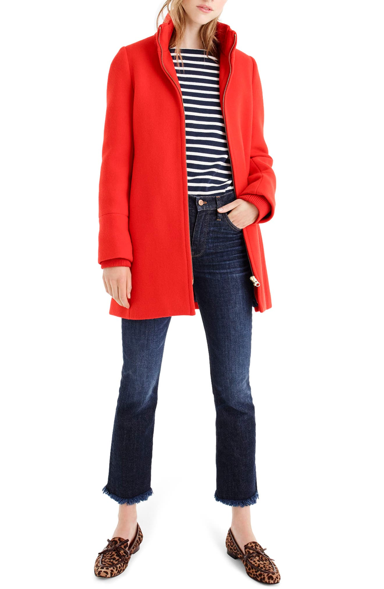 Yulia Wool Blend Coat,                         Main,                         color, Vibrant Flame