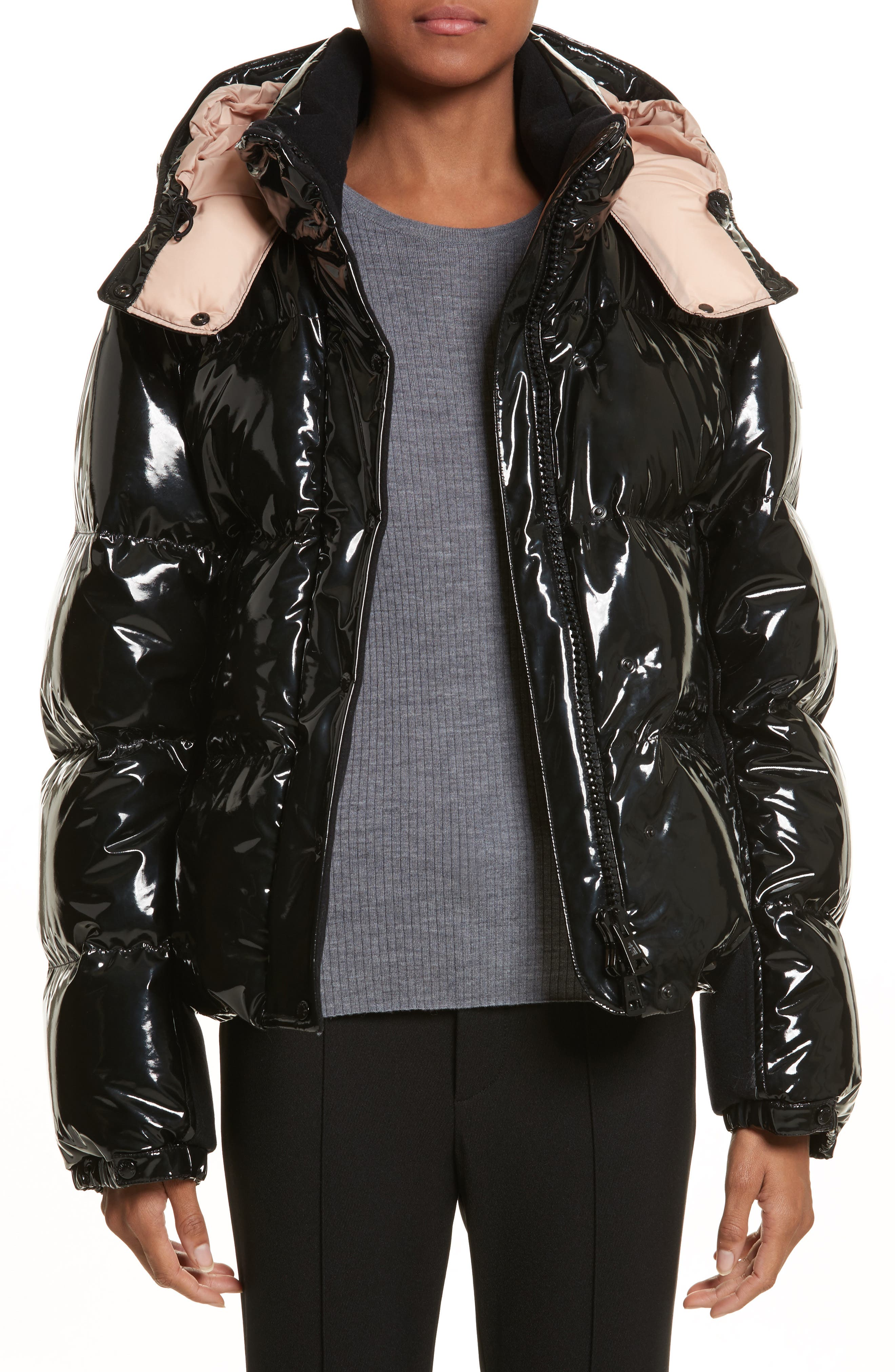 Gaura Shiny Down Quilted Puffer Coat,                             Main thumbnail 1, color,                             Black