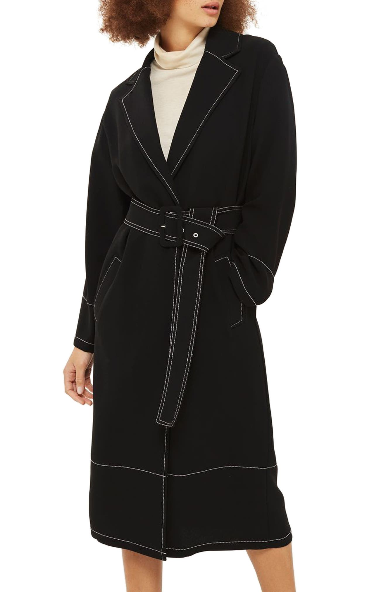 Contrast Stitch Duster Coat,                             Main thumbnail 1, color,                             Black