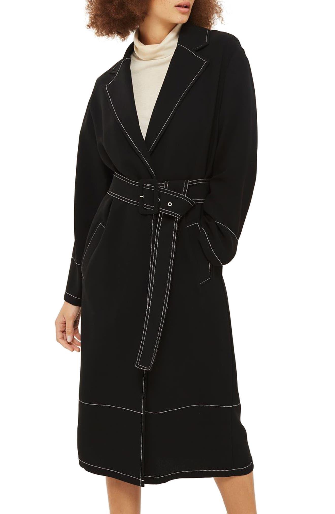 Contrast Stitch Duster Coat,                         Main,                         color, Black