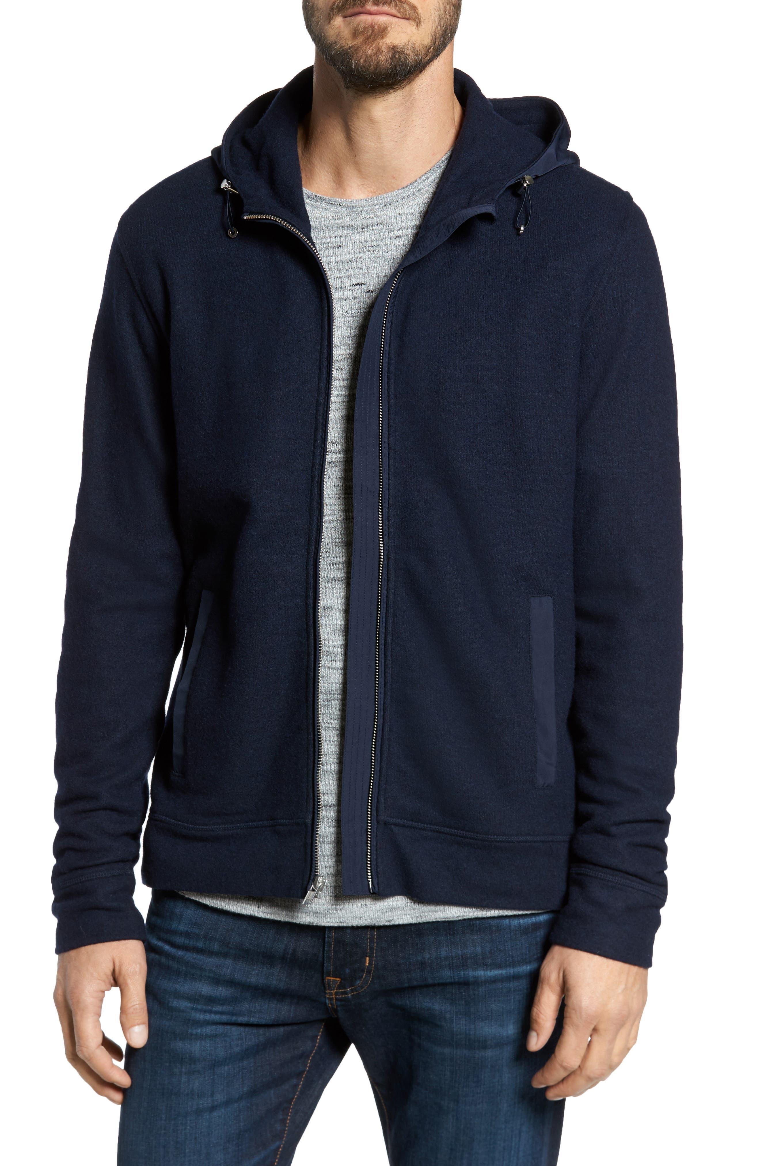 Wool Blend Hooded Cardigan,                         Main,                         color, Navy Iris