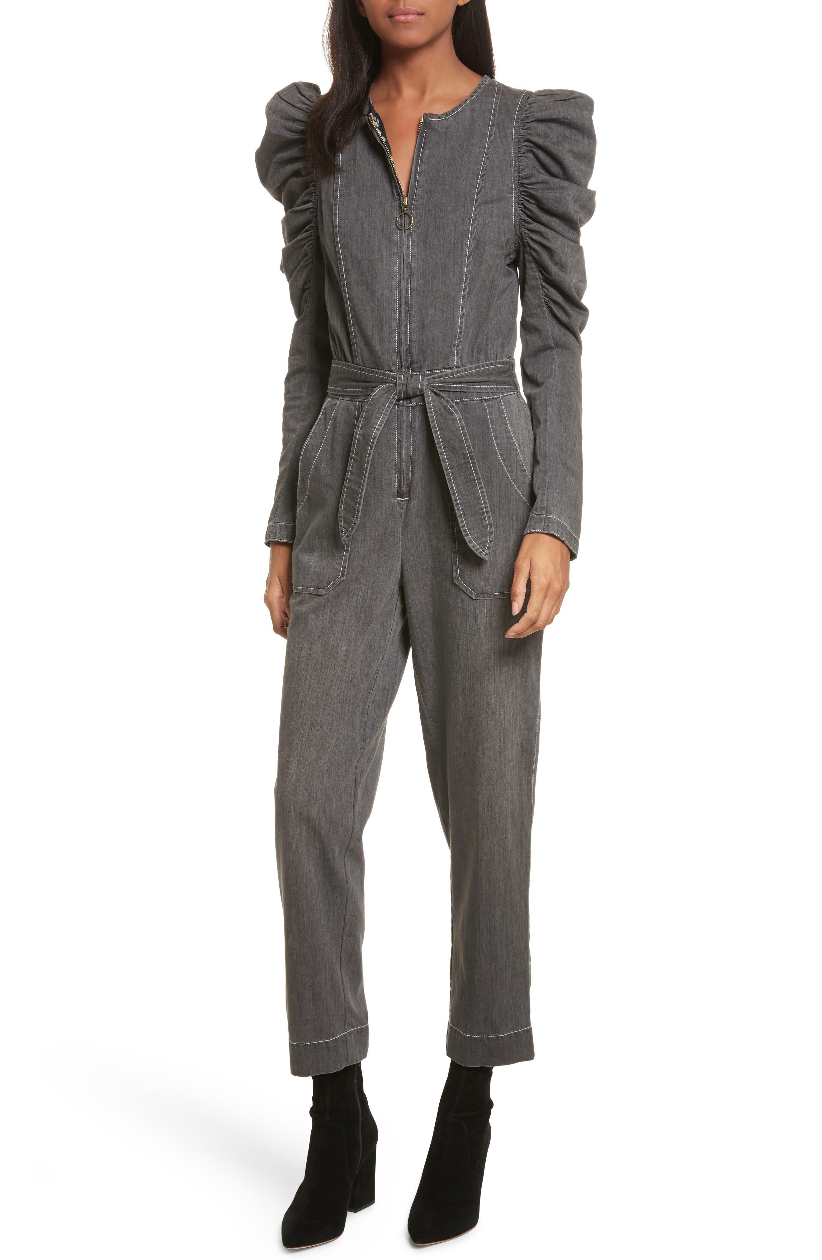 Denim Jumpsuit,                         Main,                         color, Greystone Wash