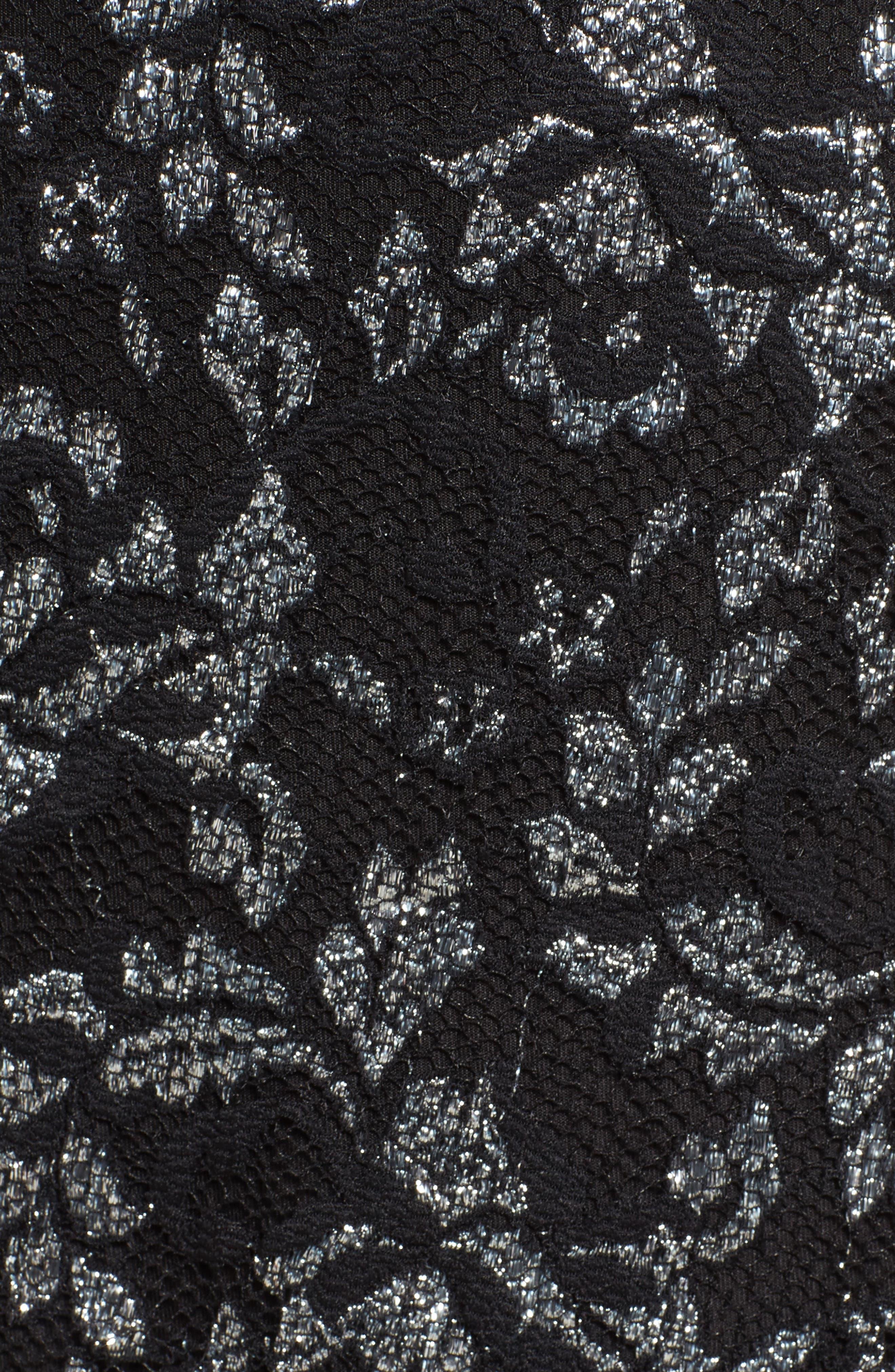 Laney Metallic Lace Wrap Dress,                             Alternate thumbnail 5, color,                             Black/ Silver