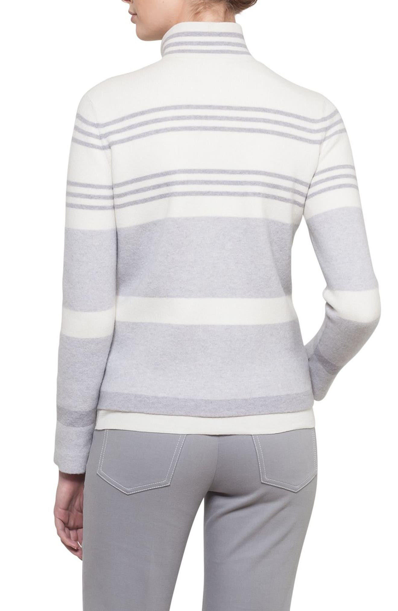 Stripe Knit Cashmere Jacket,                             Alternate thumbnail 2, color,                             Gravel/ Paper