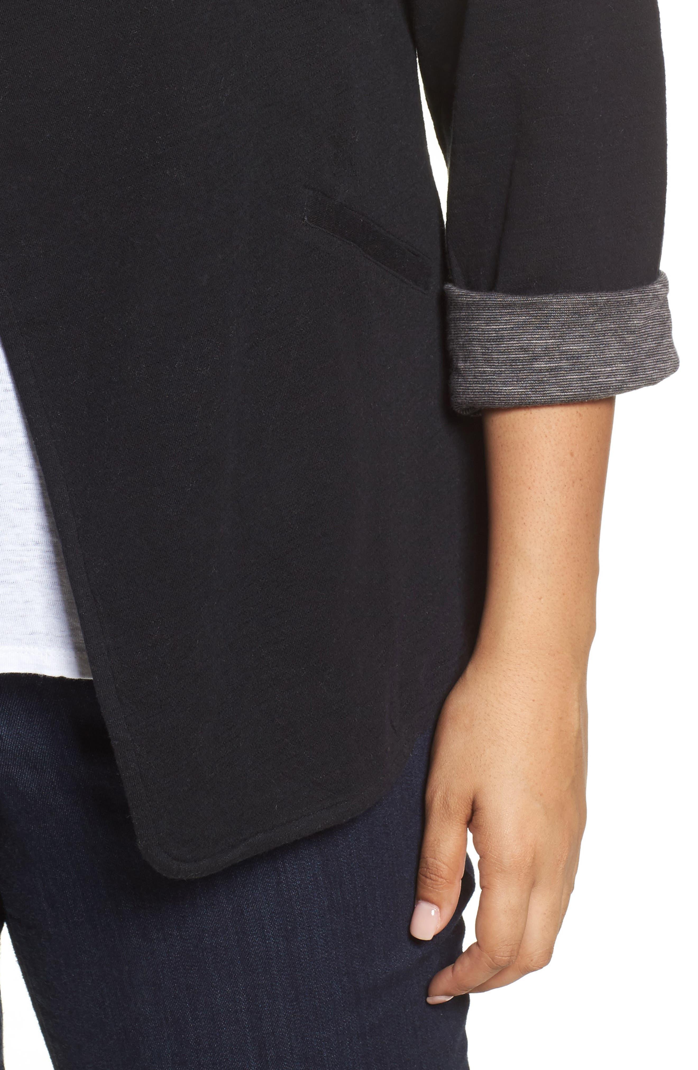 Wing Collar Knit Blazer,                             Alternate thumbnail 4, color,                             Black- Grey Pattern