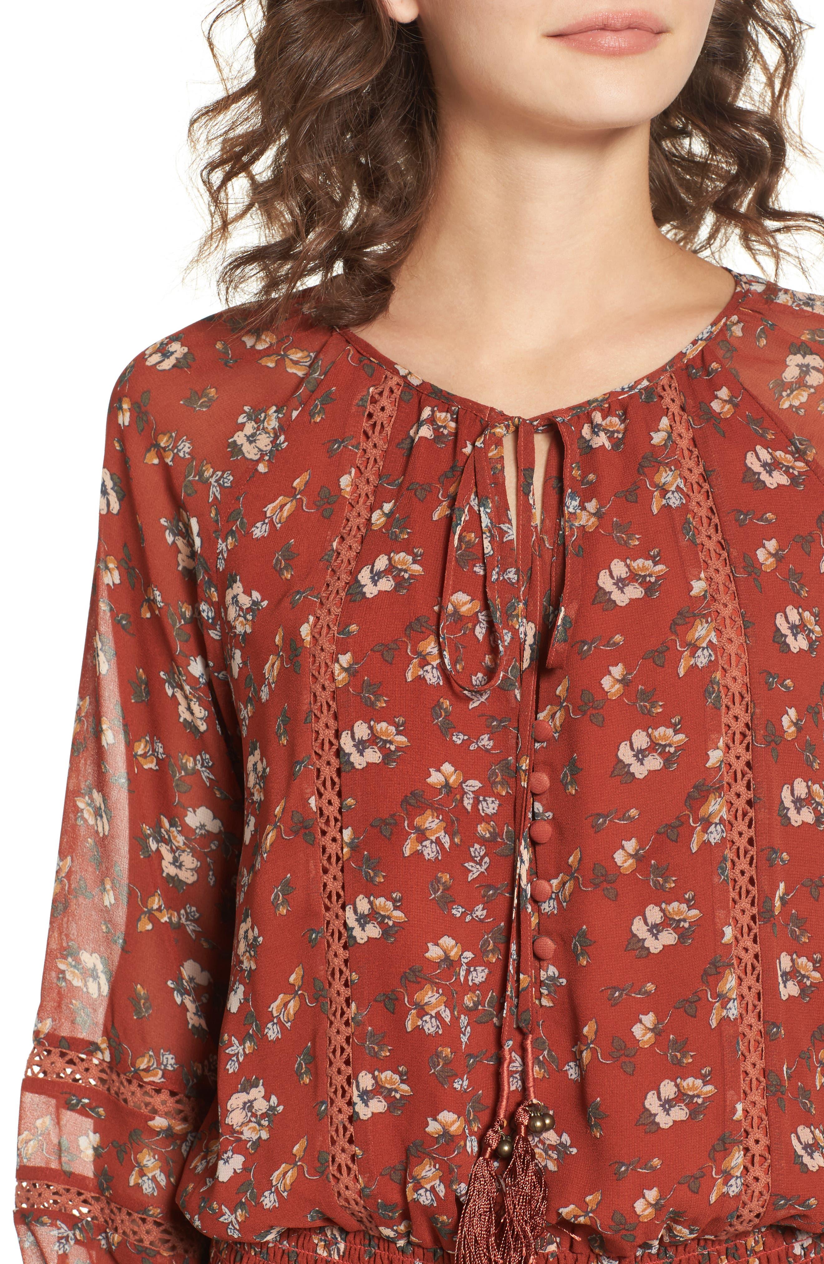 Le Marais Floral Print Dress,                             Alternate thumbnail 4, color,                             Rust