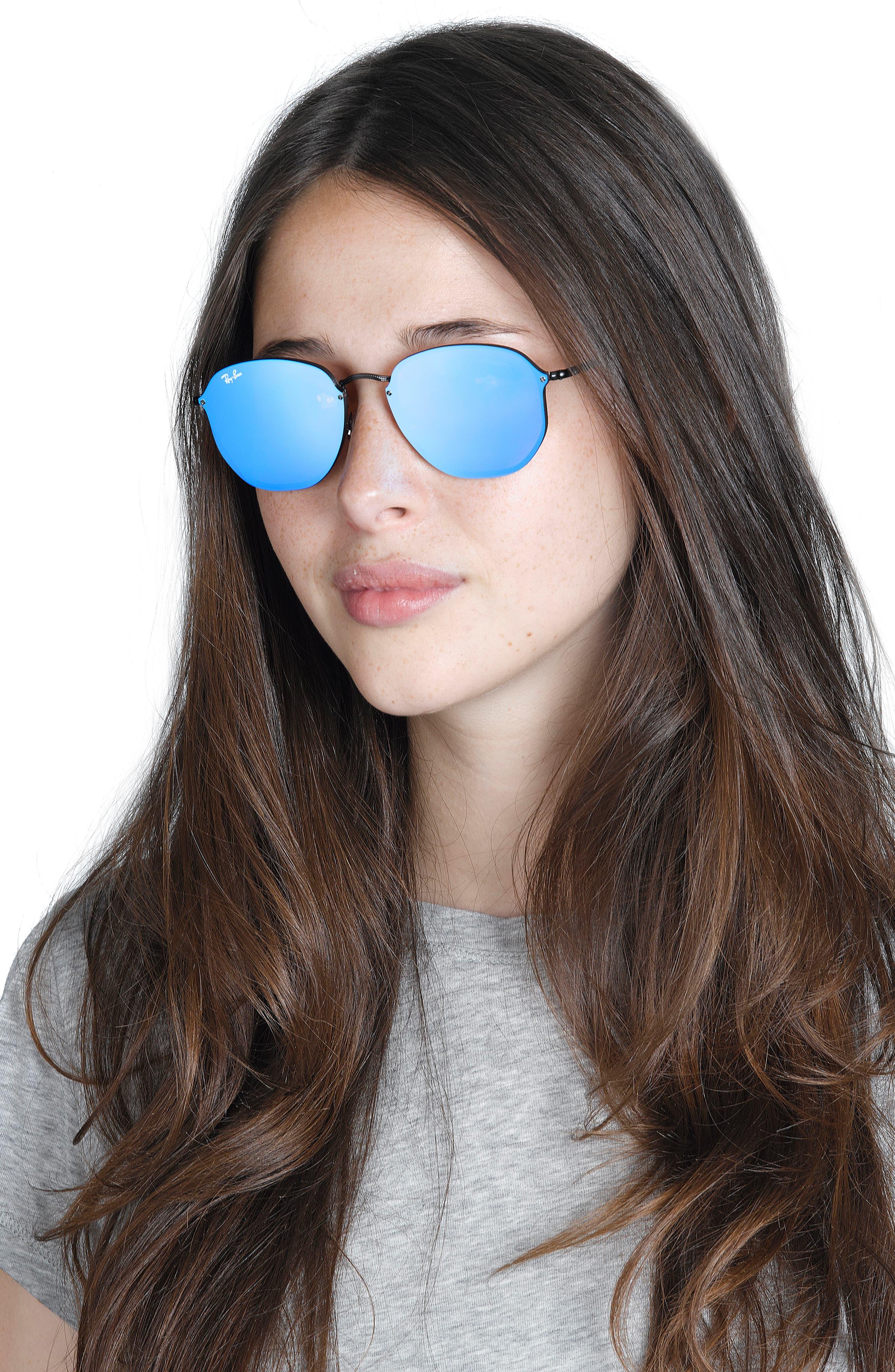 58mm Round Sunglasses,                             Alternate thumbnail 2, color,                             Shiny Black