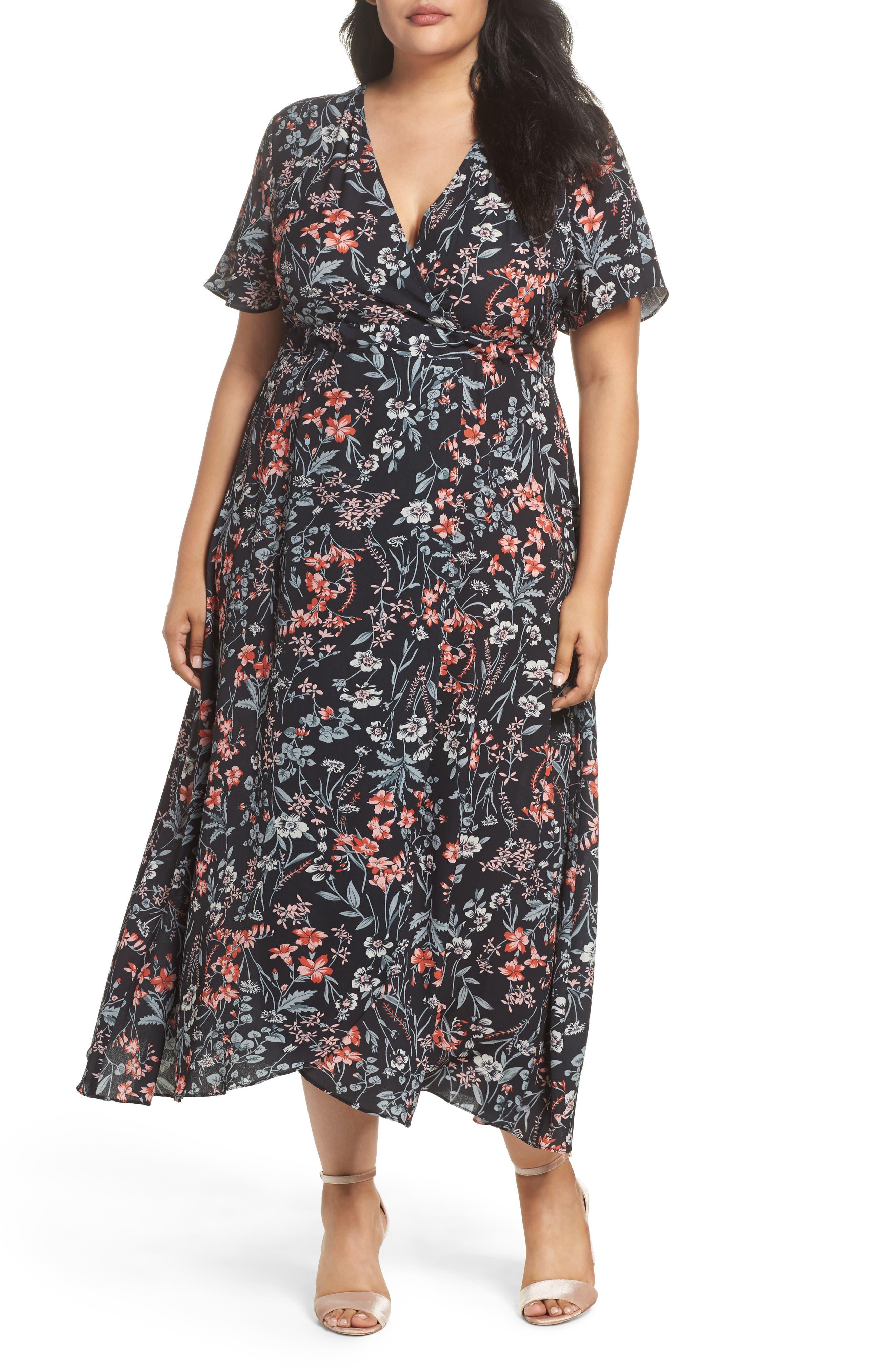 Print Maxi Dress,                         Main,                         color, Black Apricot Floral