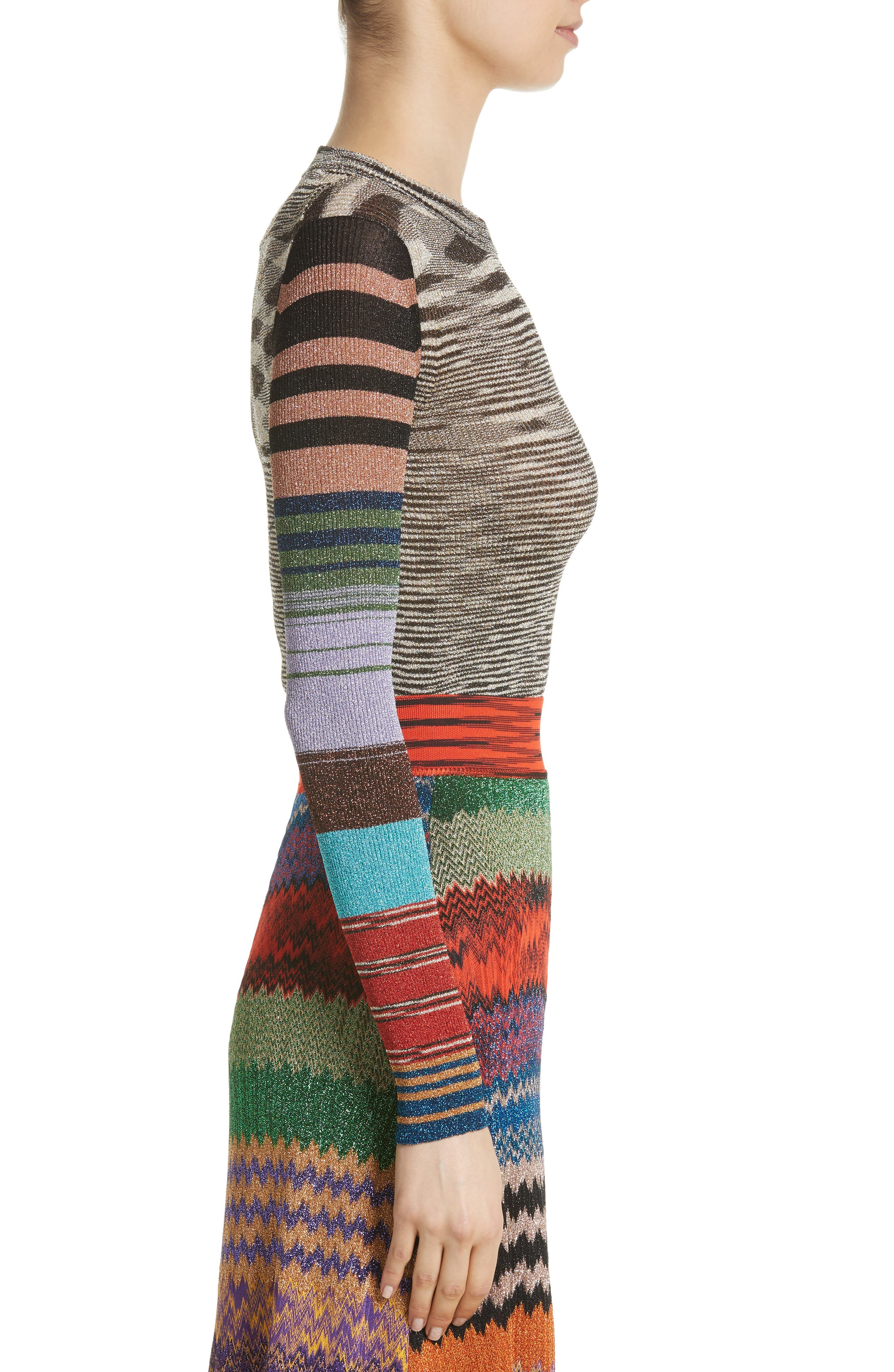 Metallic Space Dye Knit Sweater,                             Alternate thumbnail 3, color,                             Multi