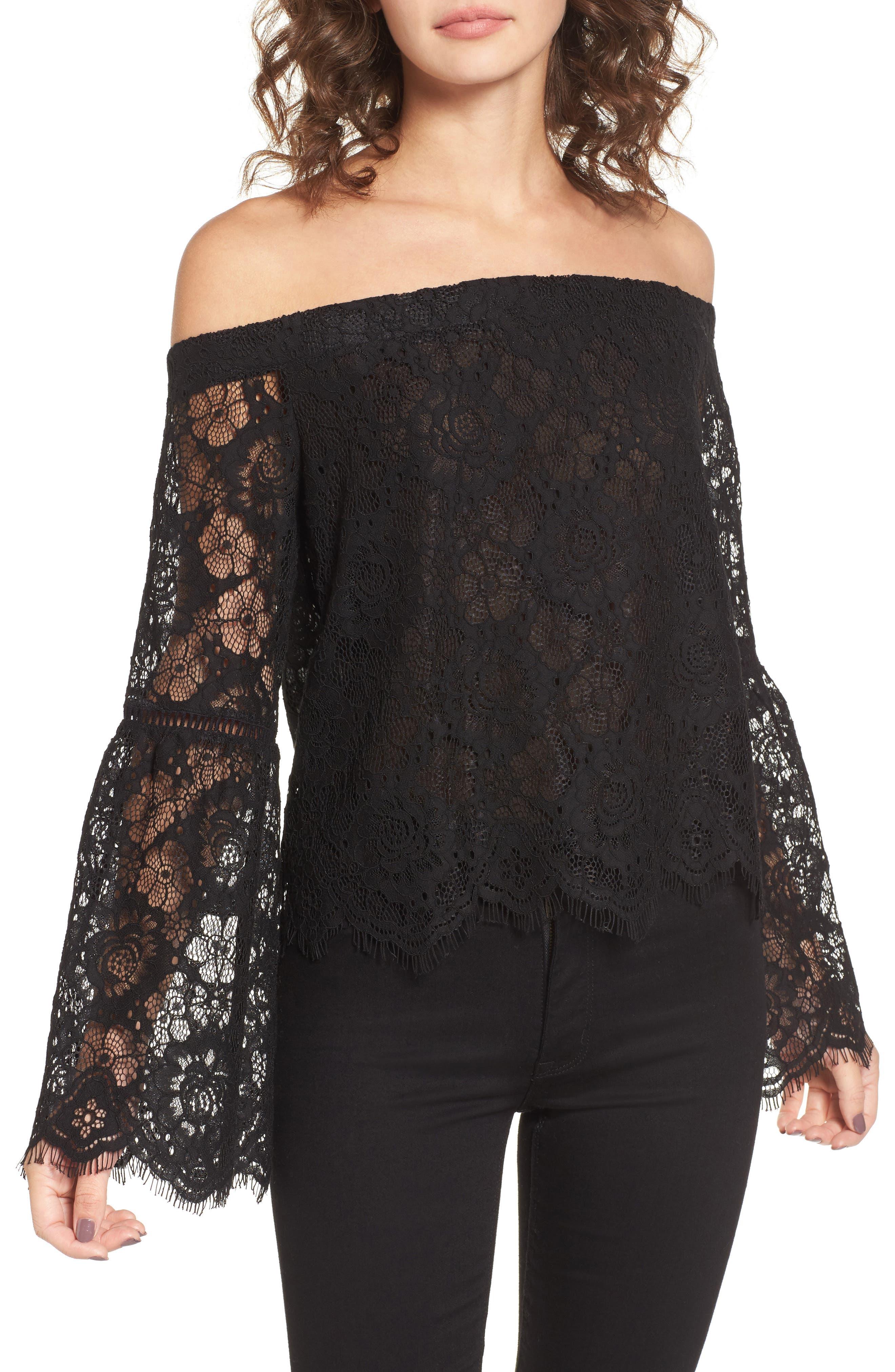 Gabrielle Off the Shoulder Lace Top,                         Main,                         color, Black