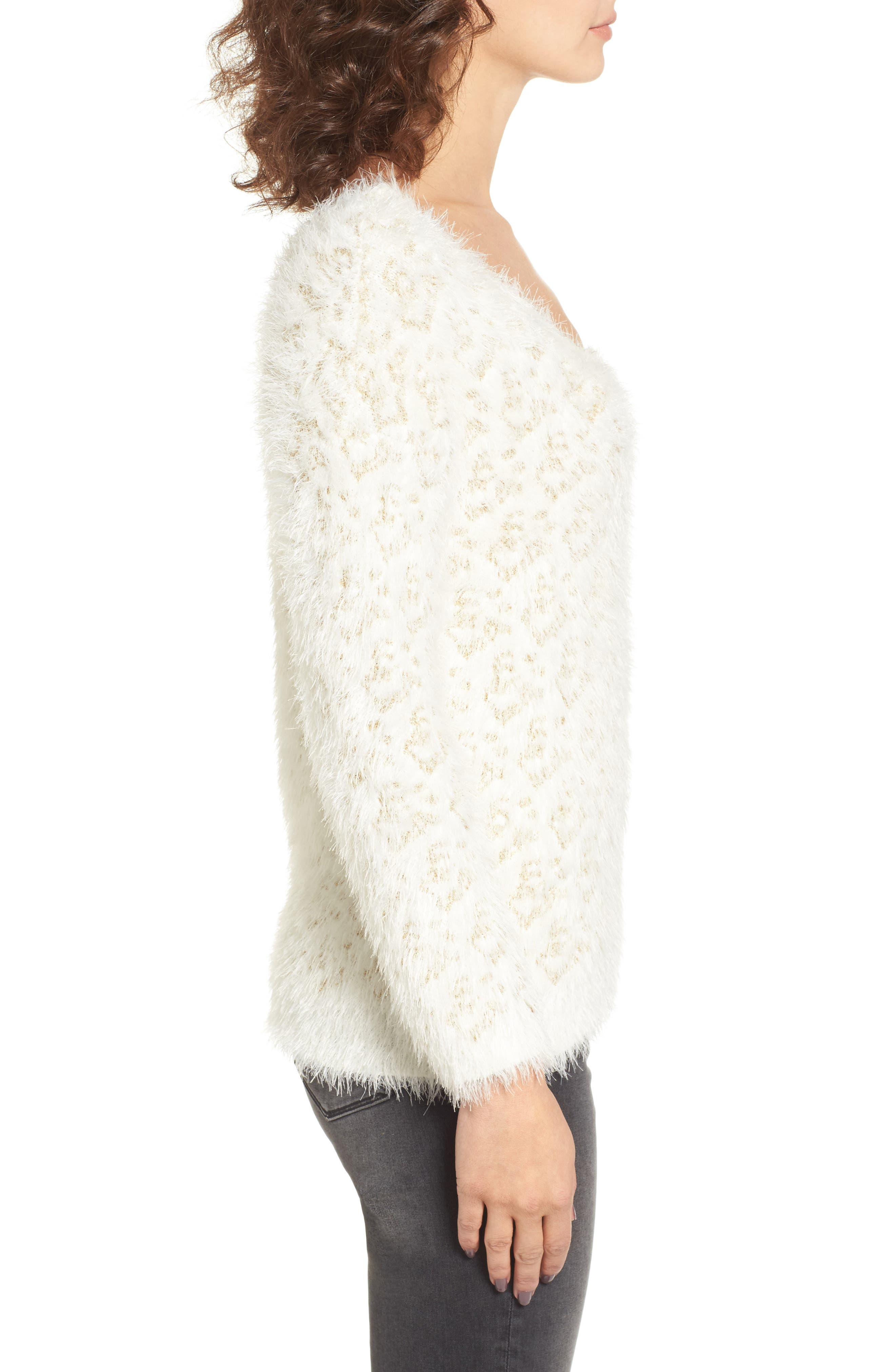 Cassidy Fuzzy Eyelash Sweater,                             Alternate thumbnail 3, color,                             Gold