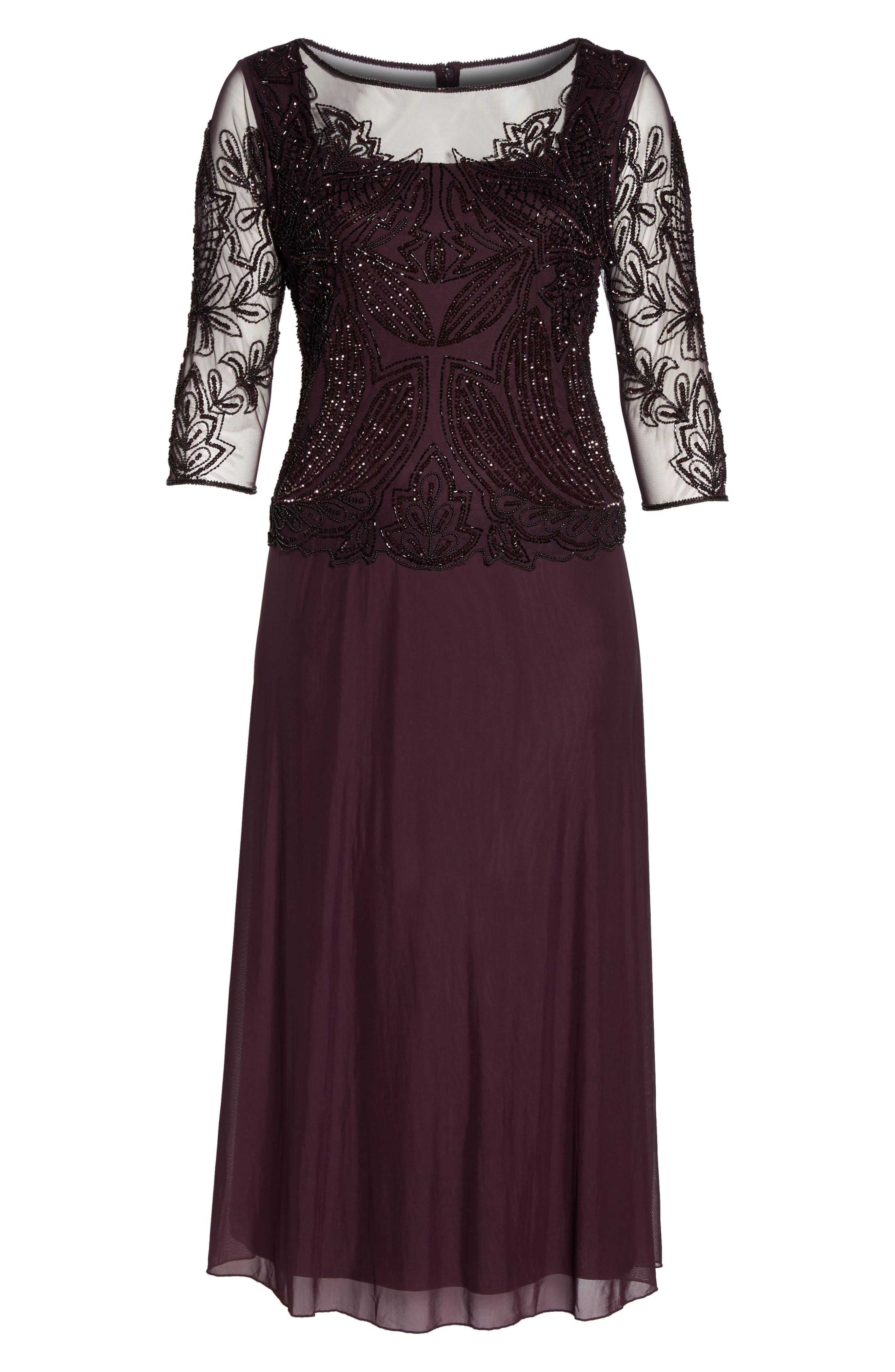 Alternate Image 6  - Pisarro Nights Illusion Neck Beaded A-Line Gown (Plus Size)