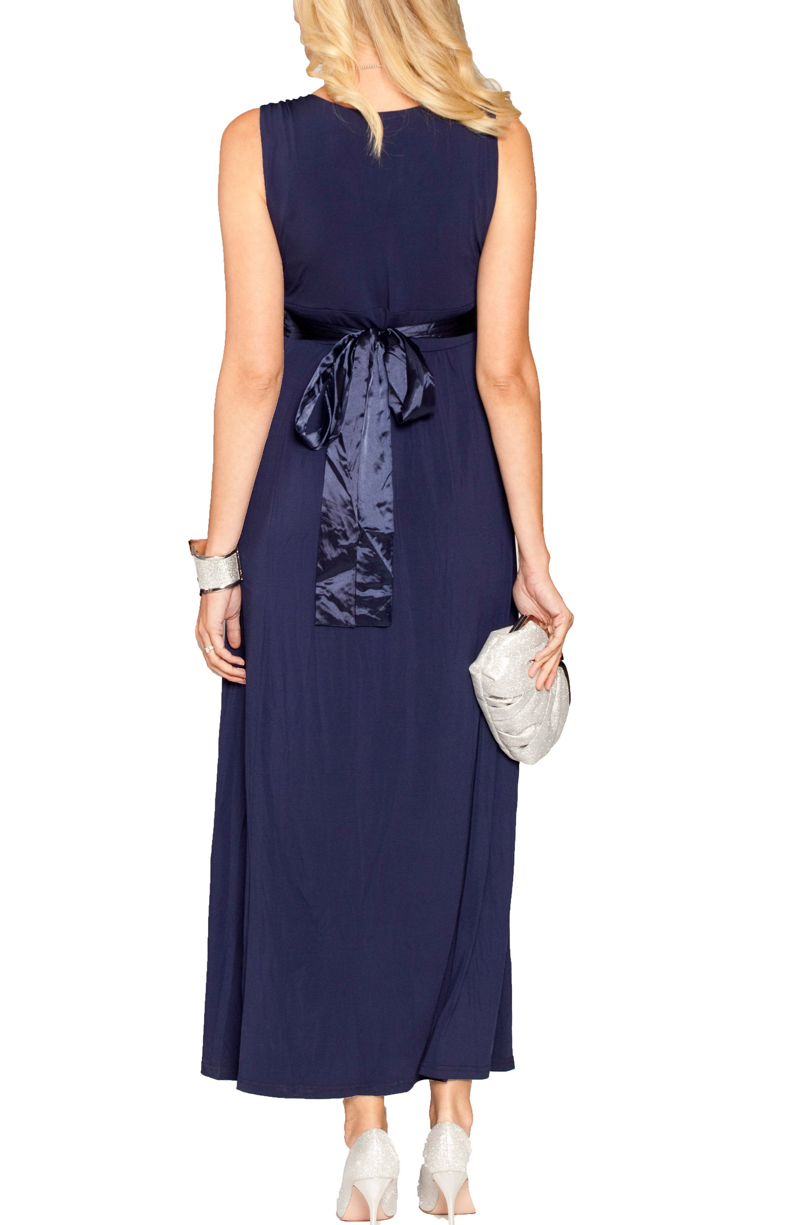 Satin Trim Maternity Dress,                             Alternate thumbnail 2, color,                             Dark Navy