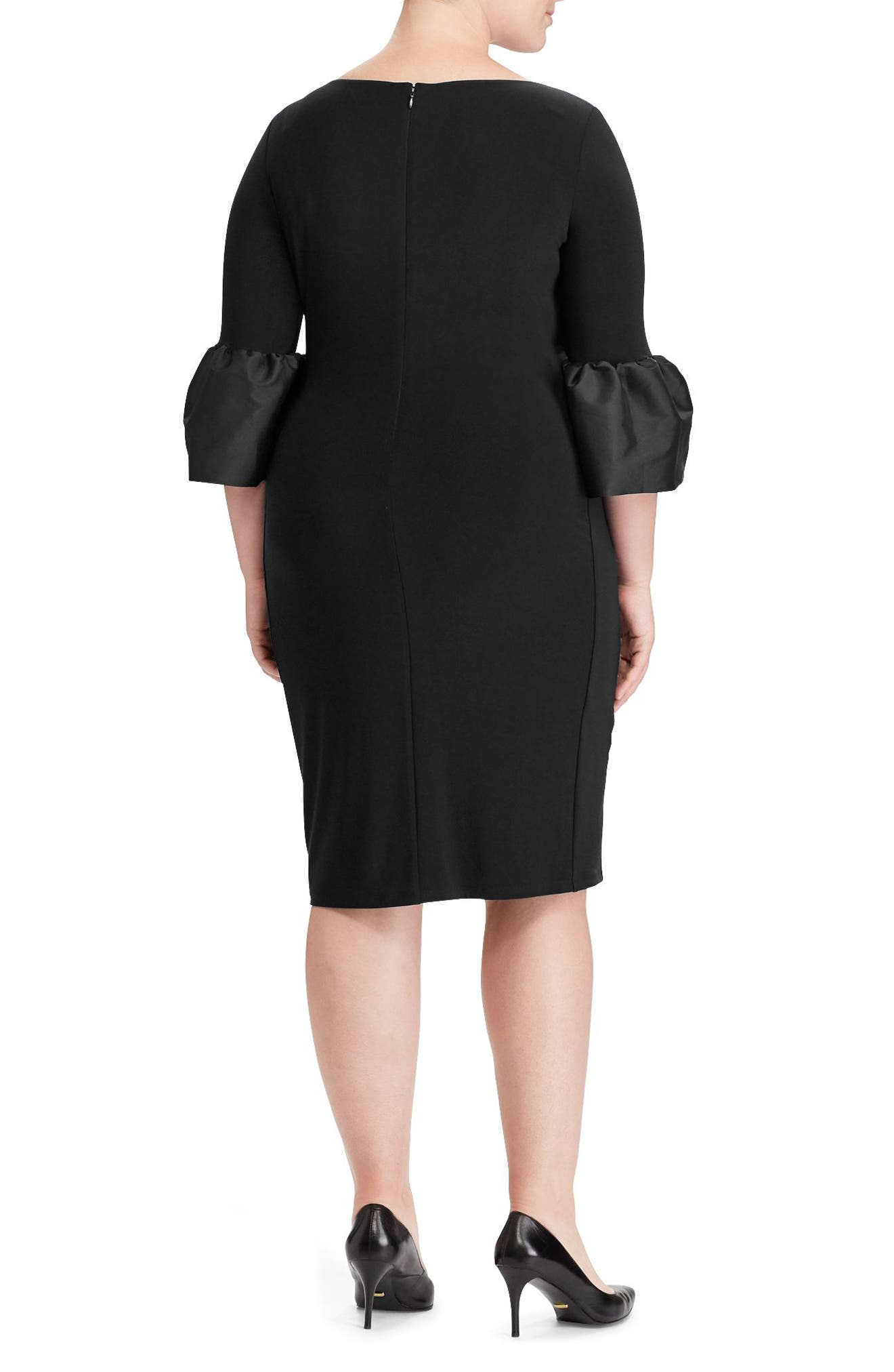 Alternate Image 2  - Lauren Ralph Lauren Taffeta Cuff Jersey Dress (Plus Size)