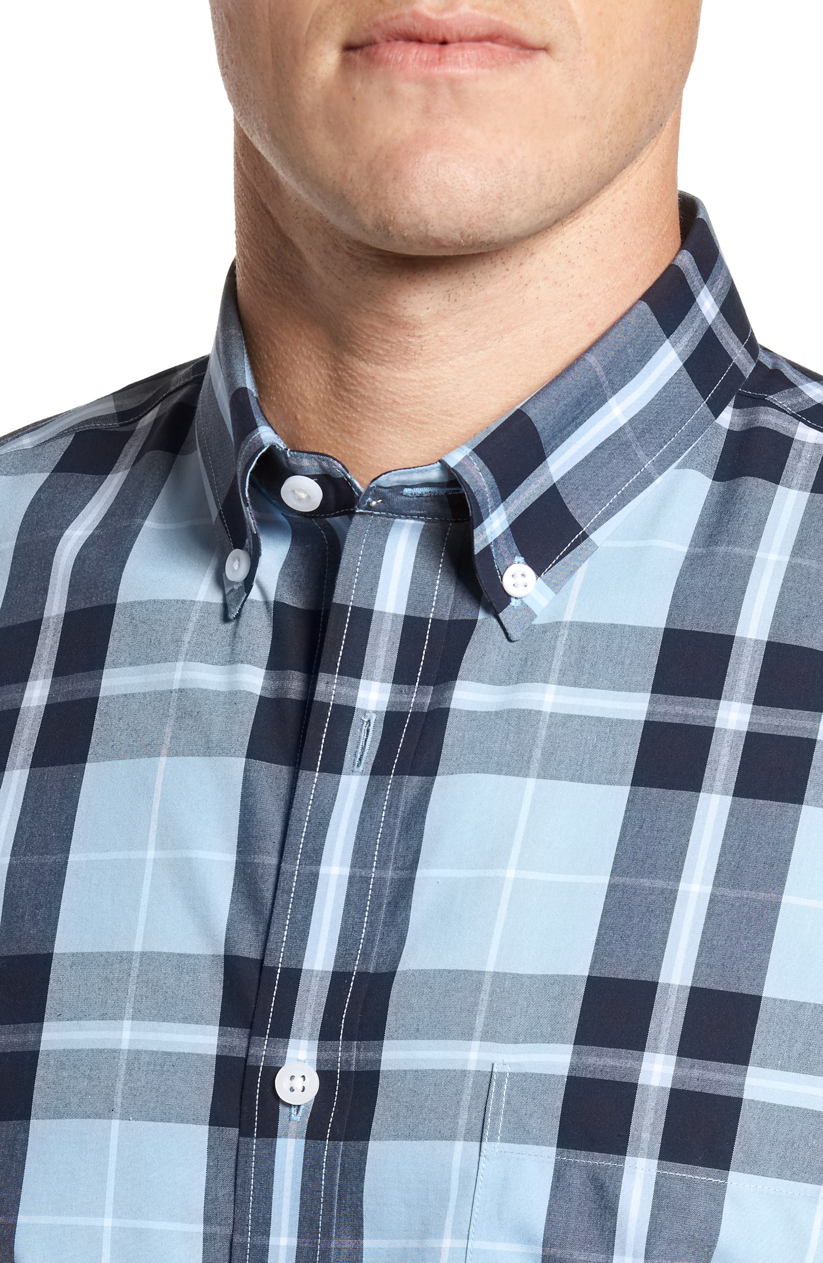 Plaid Sport Shirt,                             Alternate thumbnail 4, color,                             Blue Heather Large Plaid