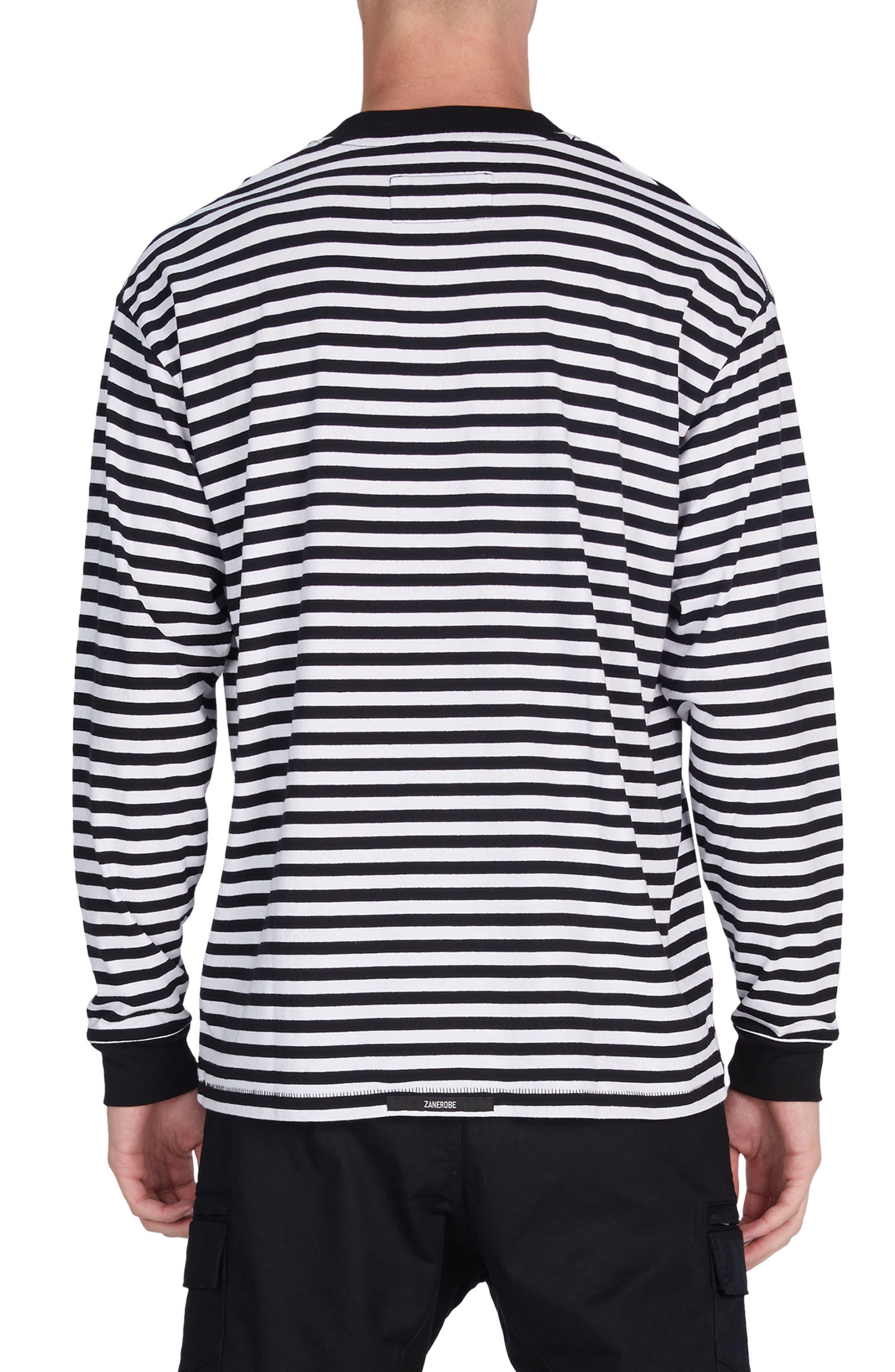 Stripe Box T-Shirt,                             Alternate thumbnail 2, color,                             Black/ White